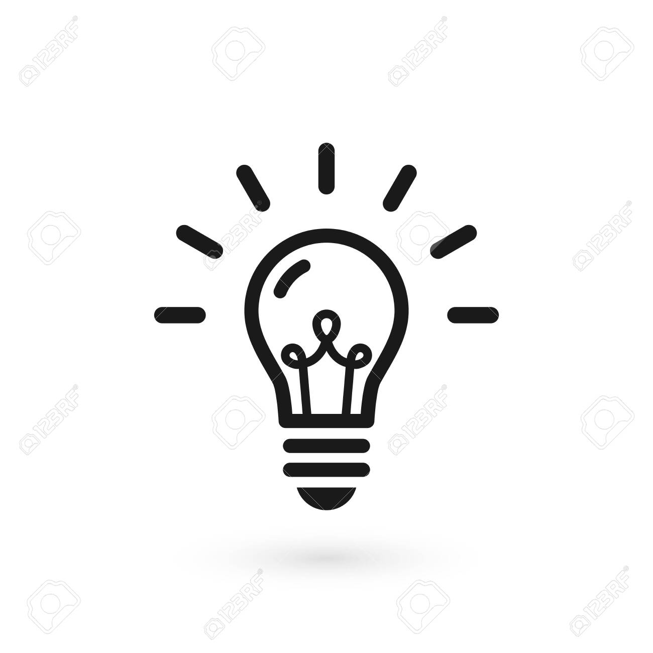 Black light bulb glowing icon. Isolated electric lamp on white background with filament and abstract rays. Vector illustration, flat design - 129337909