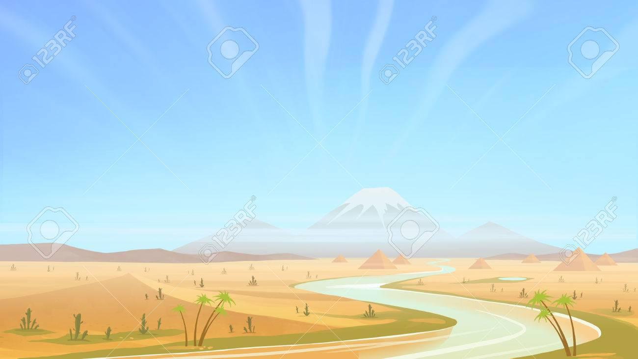 Día Claro En El Desierto. Caminar A Lo Largo Del Río Del Desierto ...