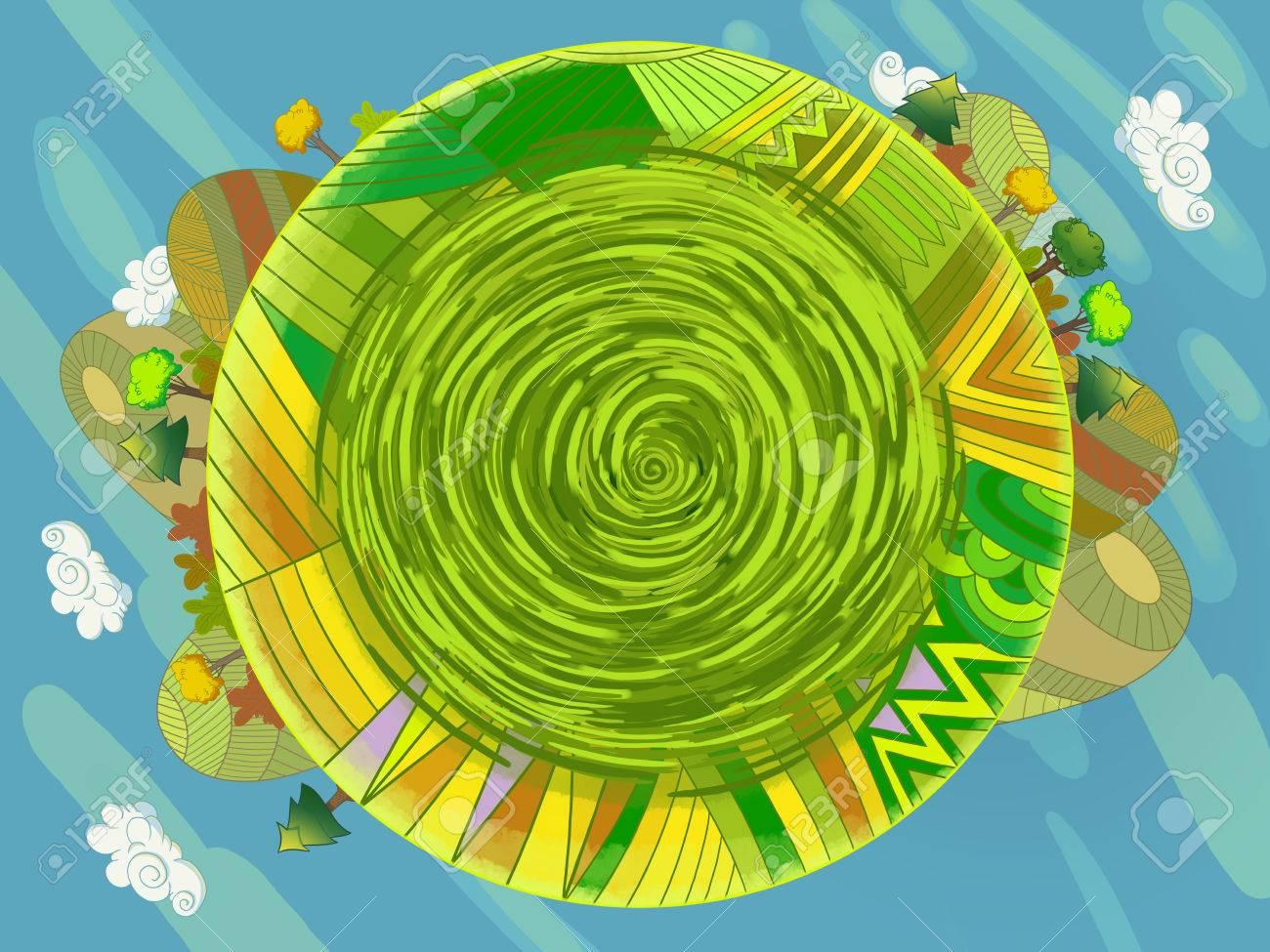 Erde Karte Rund.Stock Photo