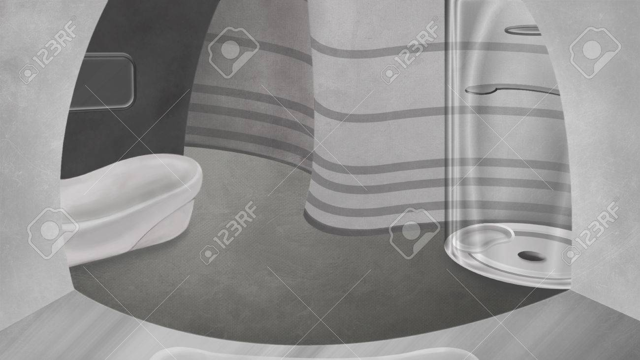 High Tech Bathroom High Tech Bathroom Digital Background Raster Illustration Stock
