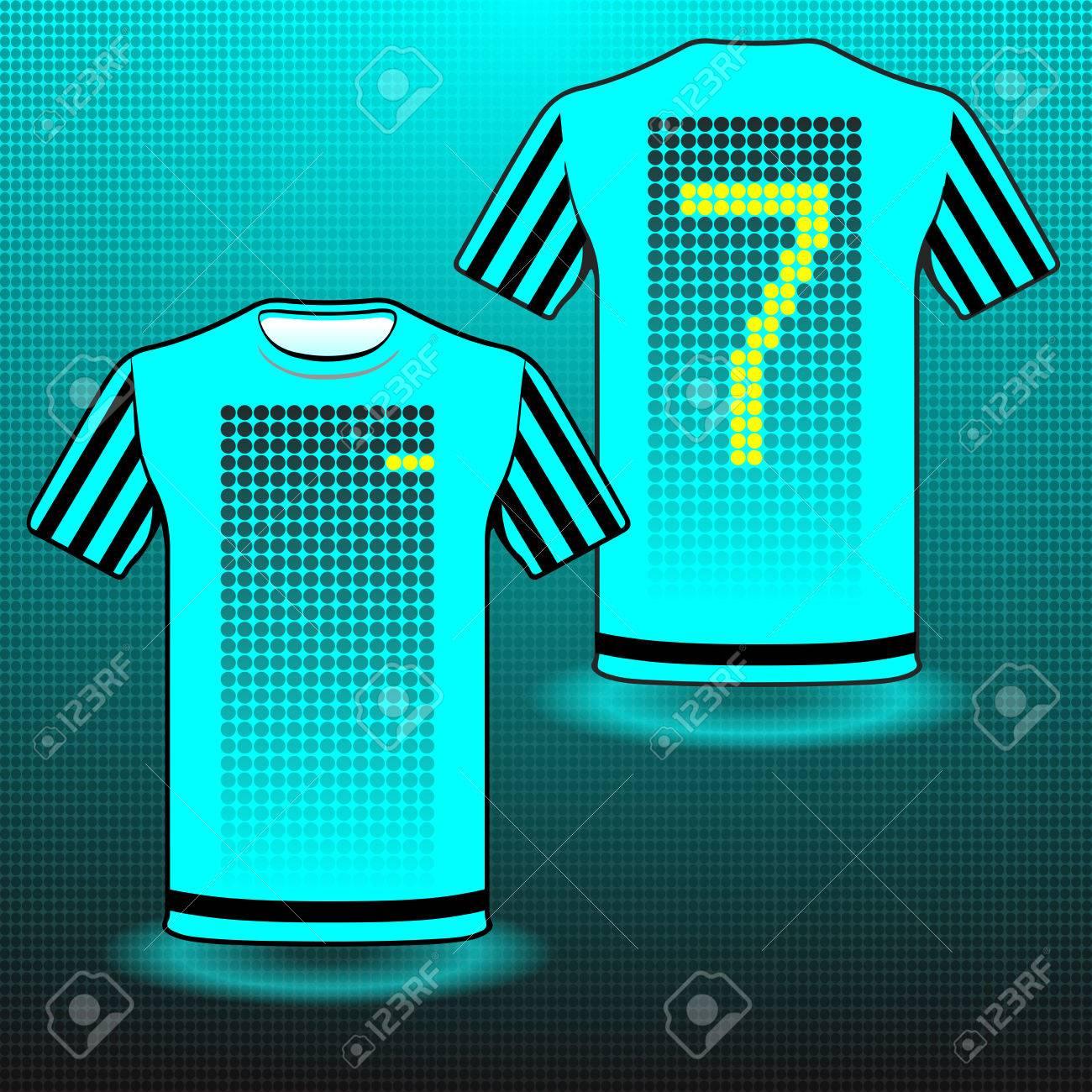 Foto de archivo - Uniforme de Fútbol Fútbol Béisbol Voleibol deporte.  Diseño elegante para los jugadores camisetas. Número de camiseta turquesa  siete ebfe422d7534c