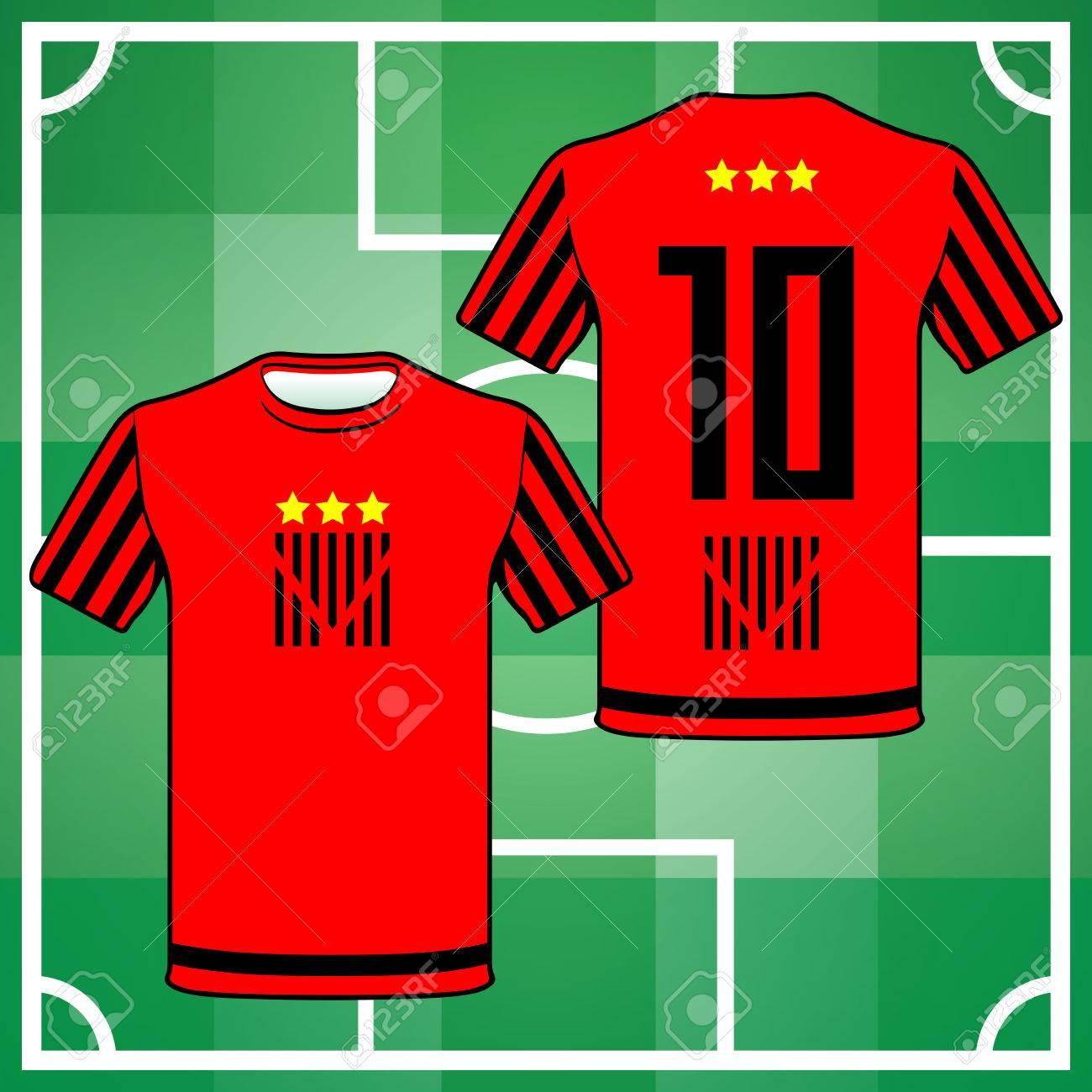 Foto de archivo - Uniforme de Fútbol Fútbol Béisbol Voleibol deporte.  Diseño elegante para los jugadores camisetas. Negro y rojo número de la  camiseta diez d5ec116c1d402