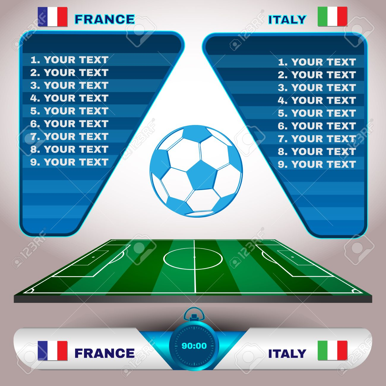 Football Soccer Match Statistics  Scoreboard with players and