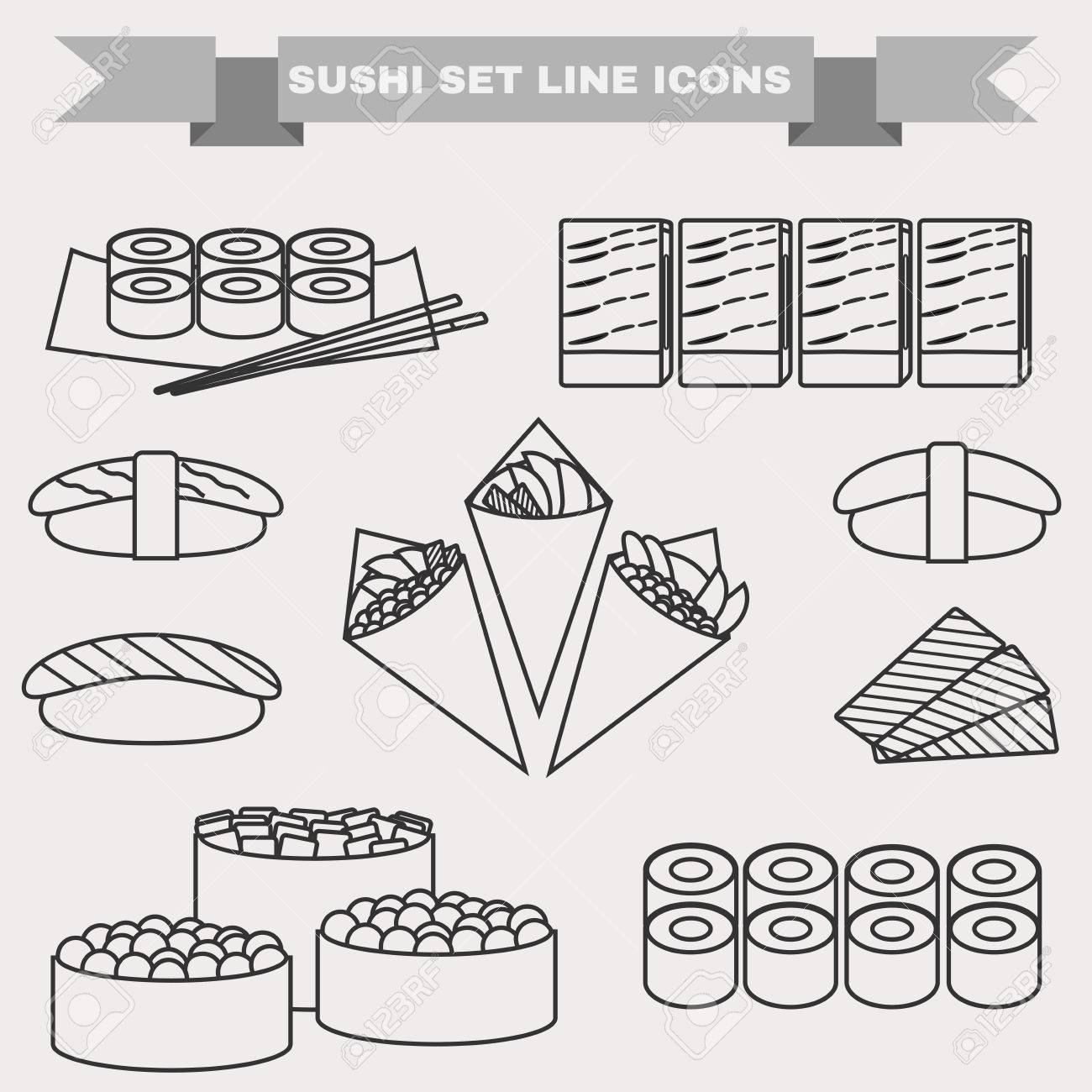 Big Icon Set Of Sushi Different Sushi Types Platter With Chopsticks