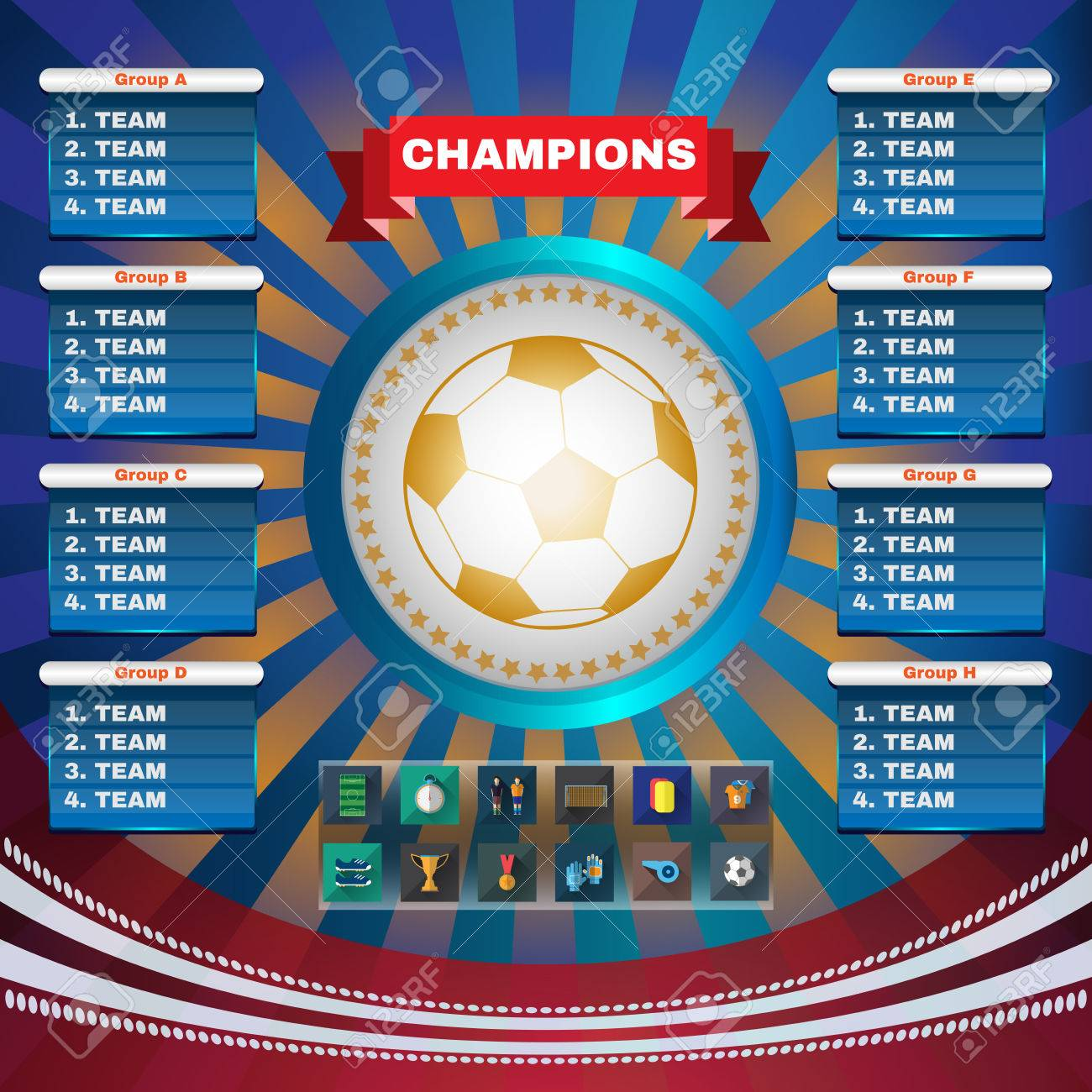 Football Champions  Flyer Soccer Groups and Teams Statistics