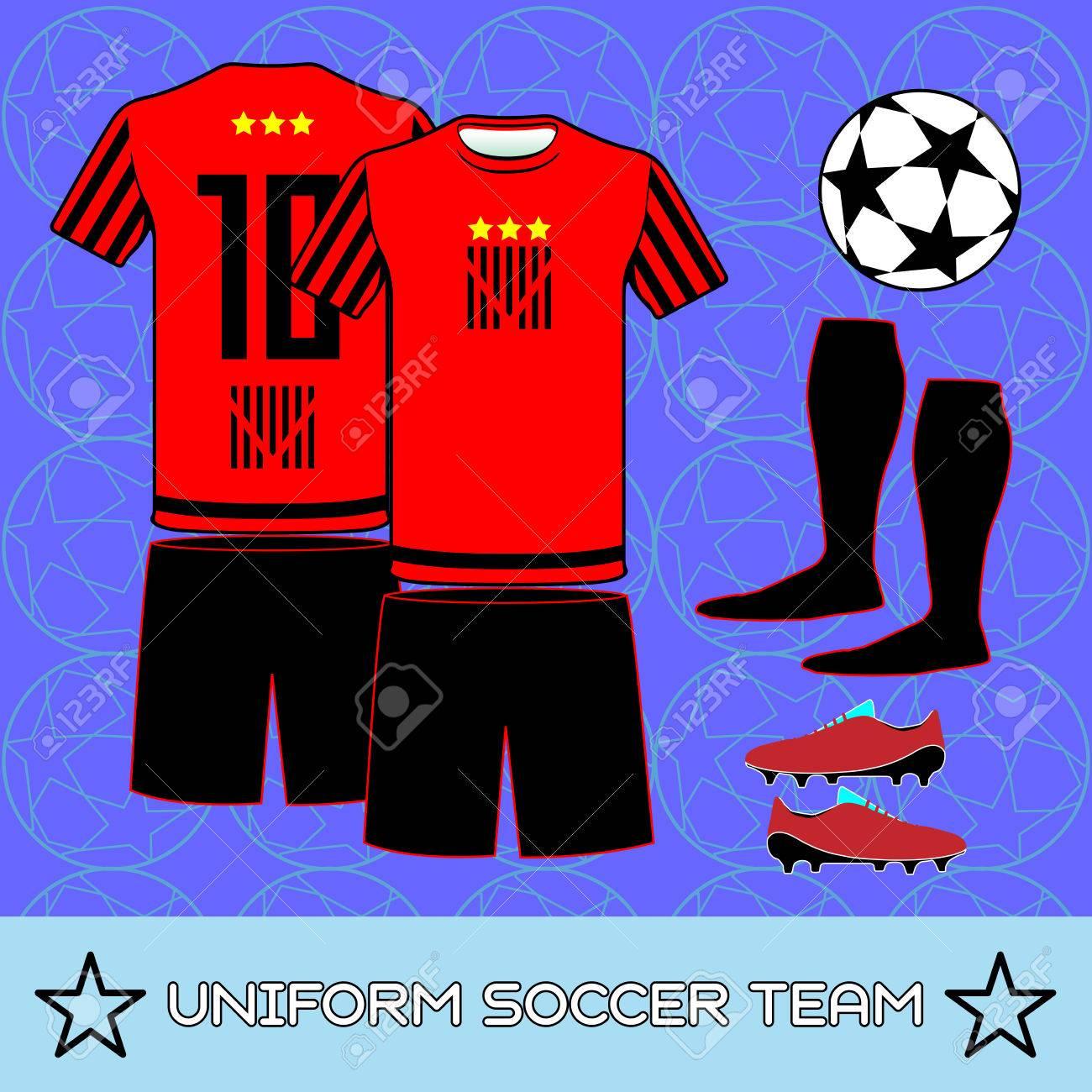 Equipo De Fútbol De La Plantilla Deportiva. Vista Anterior Y ...
