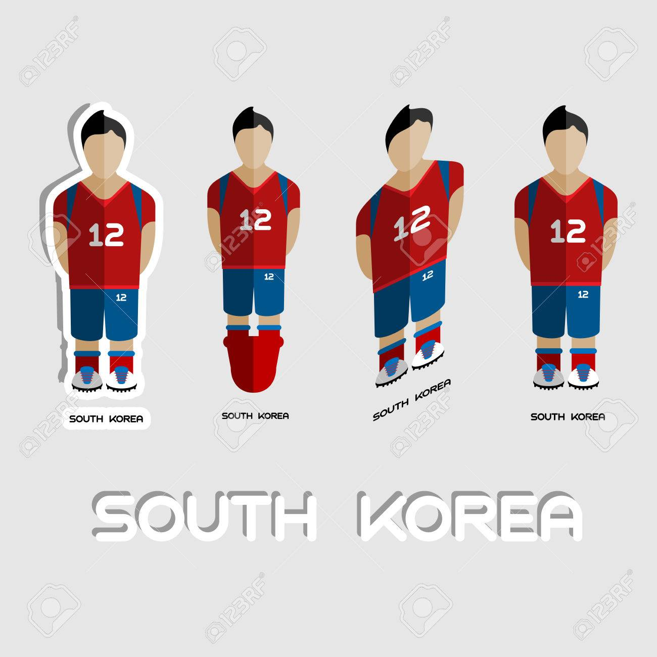0a0952120 South Korea Soccer Team Sportswear Template. Front View of Outdoor Activity  Sportswear for Men and