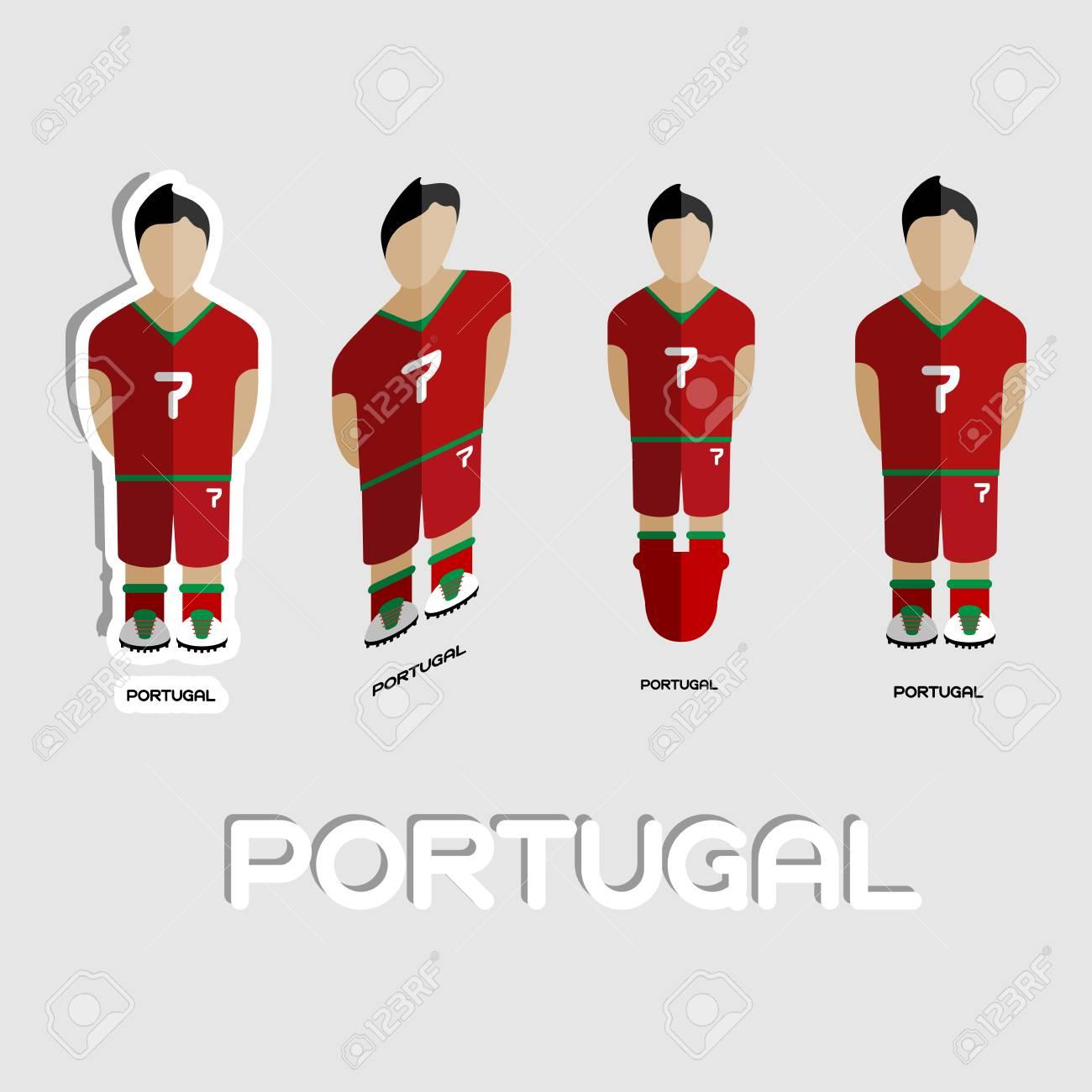 a463b2bc112c1 Fútbol De Portugal Plantilla De Deporte De Equipo. Vista Frontal De La  Actividad Al Aire Libre Ropa De Deporte Para Los Hombres Y Los Niños.