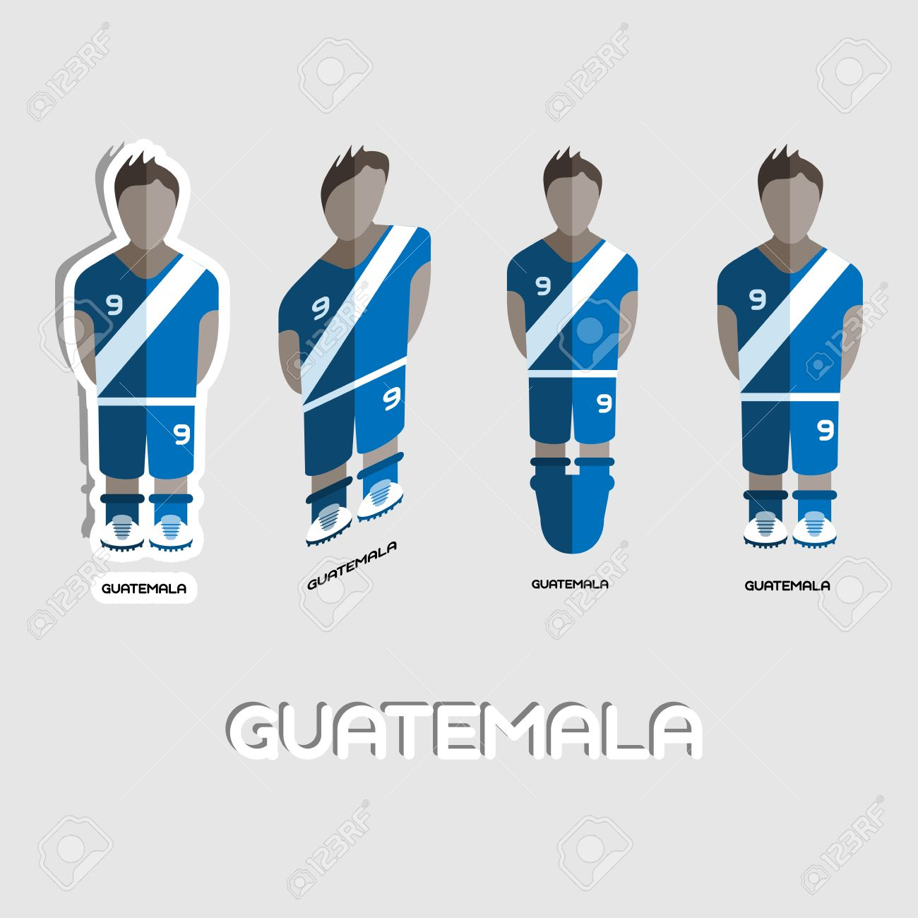 Guatemala Soccer Team Sportswear Template Front View Of Outdoor Activity For Men And Boys