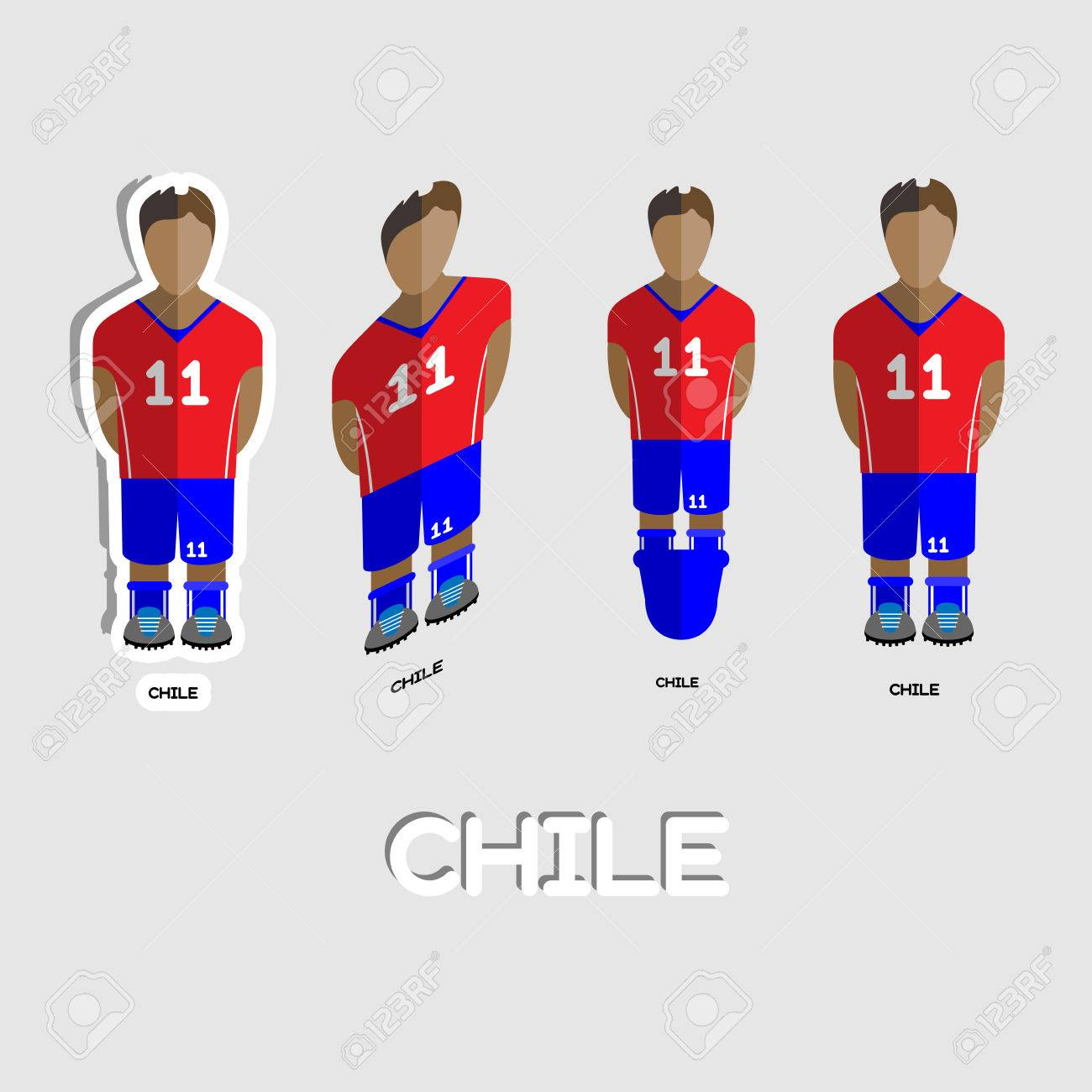 97d248a747001 Chile Fútbol Plantilla De Deporte De Equipo. Vista Frontal De La Actividad  Al Aire Libre Ropa De Deporte Para Los Hombres Y Los Niños.