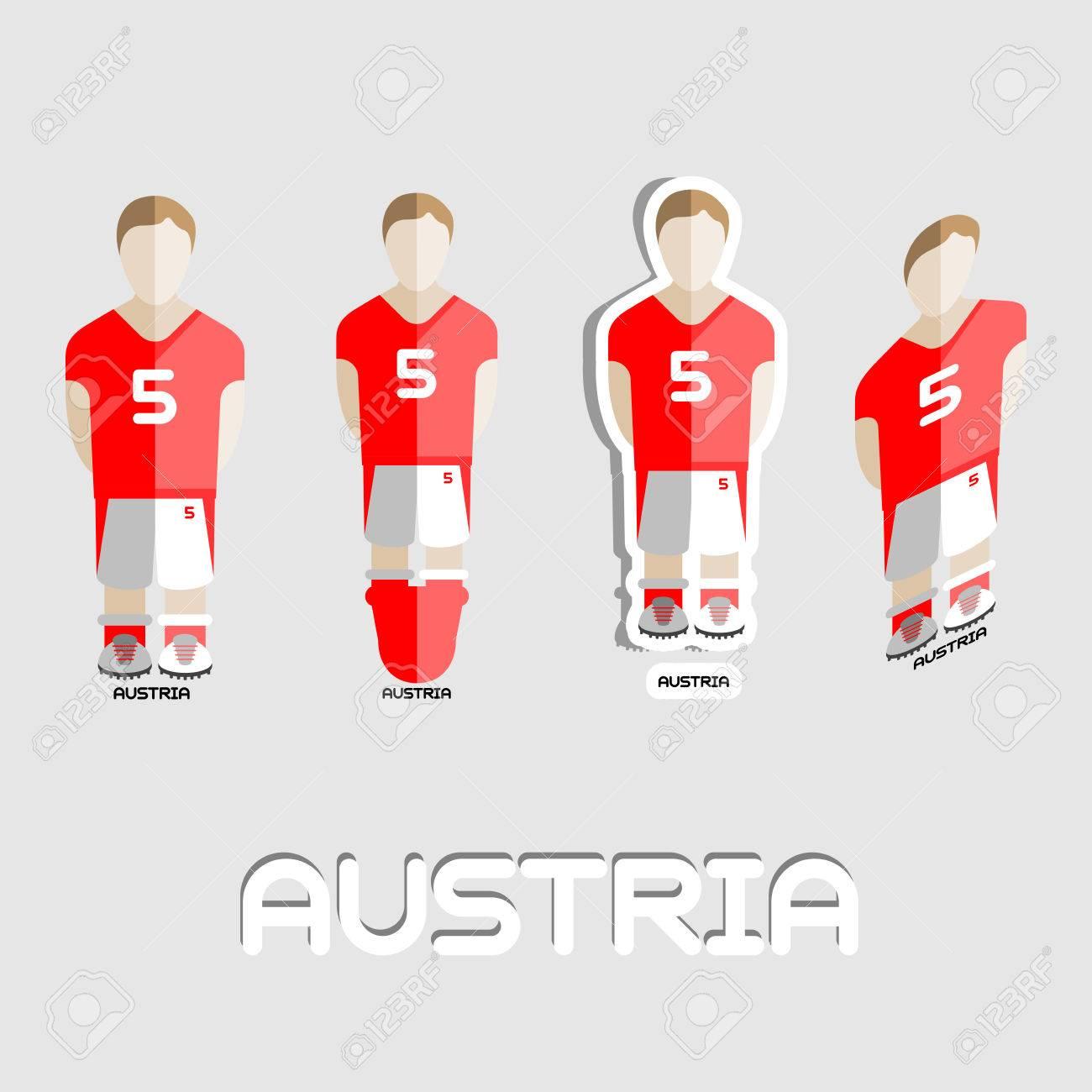Austria Fútbol Plantilla De Deporte De Equipo. Vista Frontal De La ...
