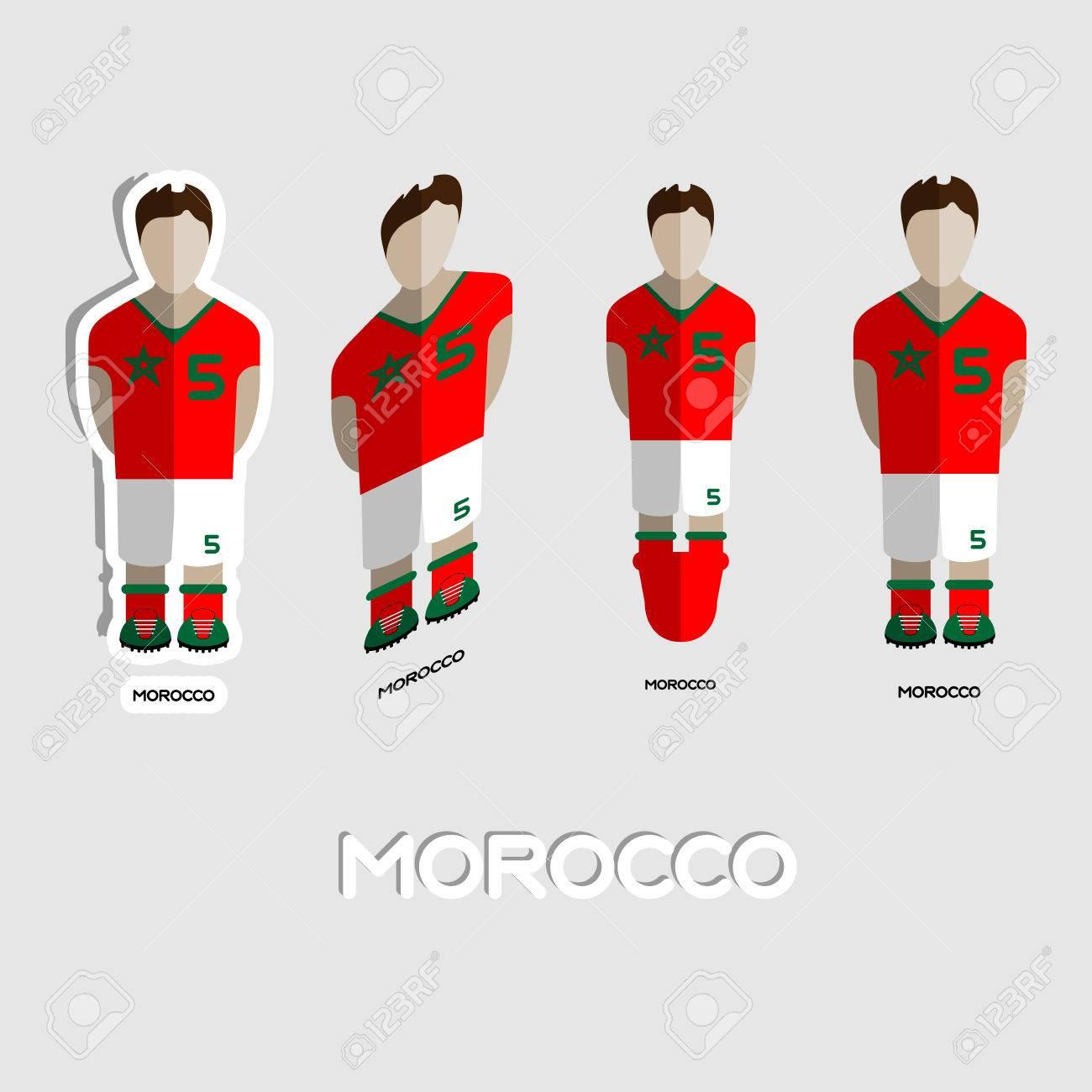 Marruecos Equipo De Fútbol De La Plantilla Deportiva. Vista Frontal ...
