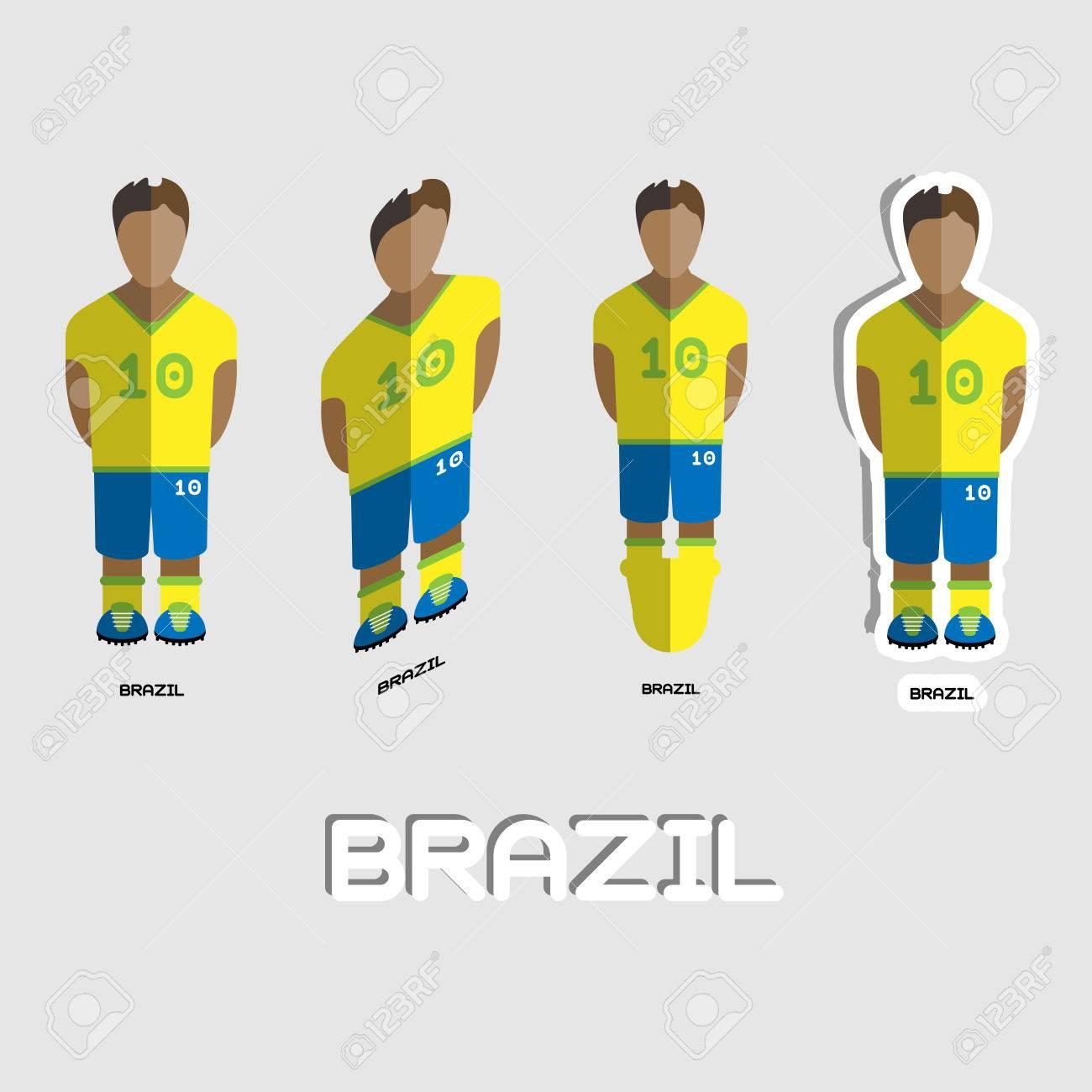 Brasil Equipo De Fútbol De La Plantilla Deportiva. Vista Frontal De ...