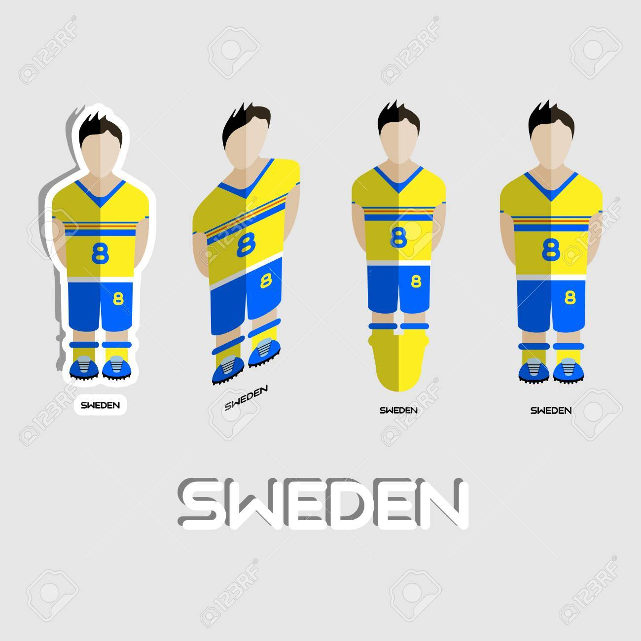 0a919ac198e Sweden Soccer Team Sportswear Template. Front View of Outdoor Activity  Sportswear for Men and Boys