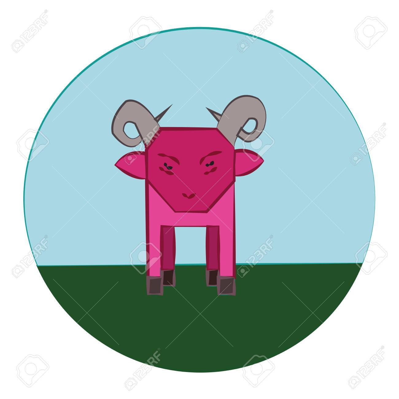 Mouton Rose Avec Horns Debout Dans La Prairie Verte Betail Ferme Des Animaux A La Campagne Round Icon Vector Enfants Numeriques Livre