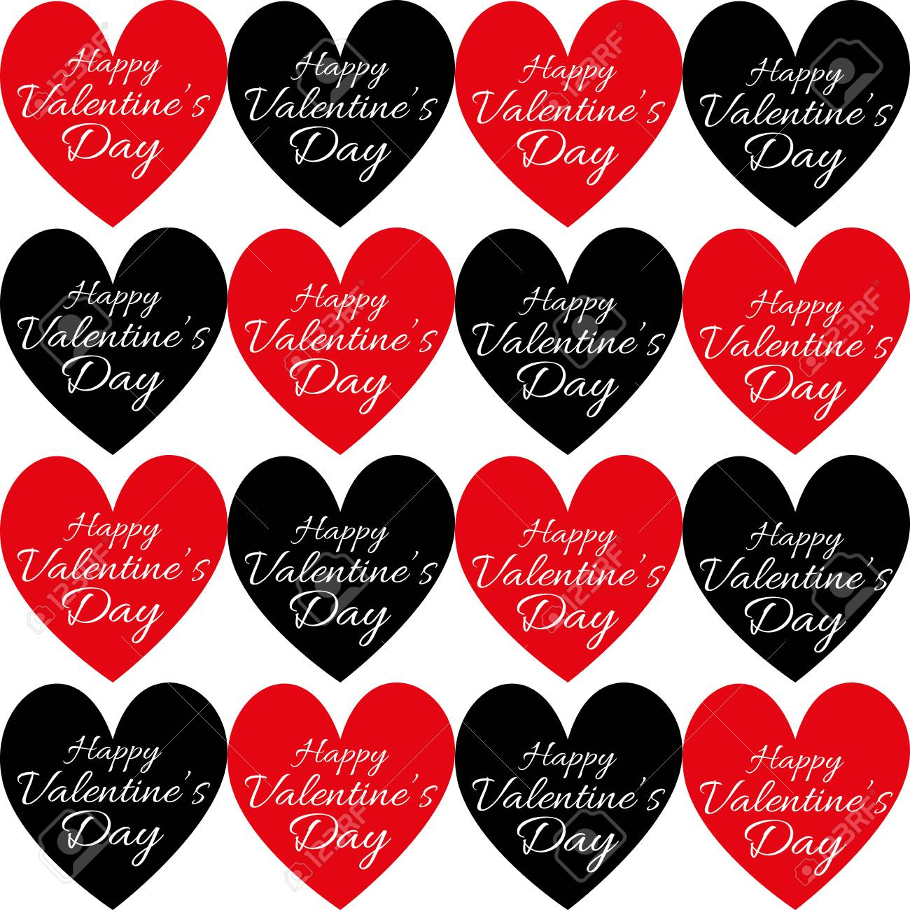 Happy Valentines Day Greeting Card Multiple Red And Black Hearts