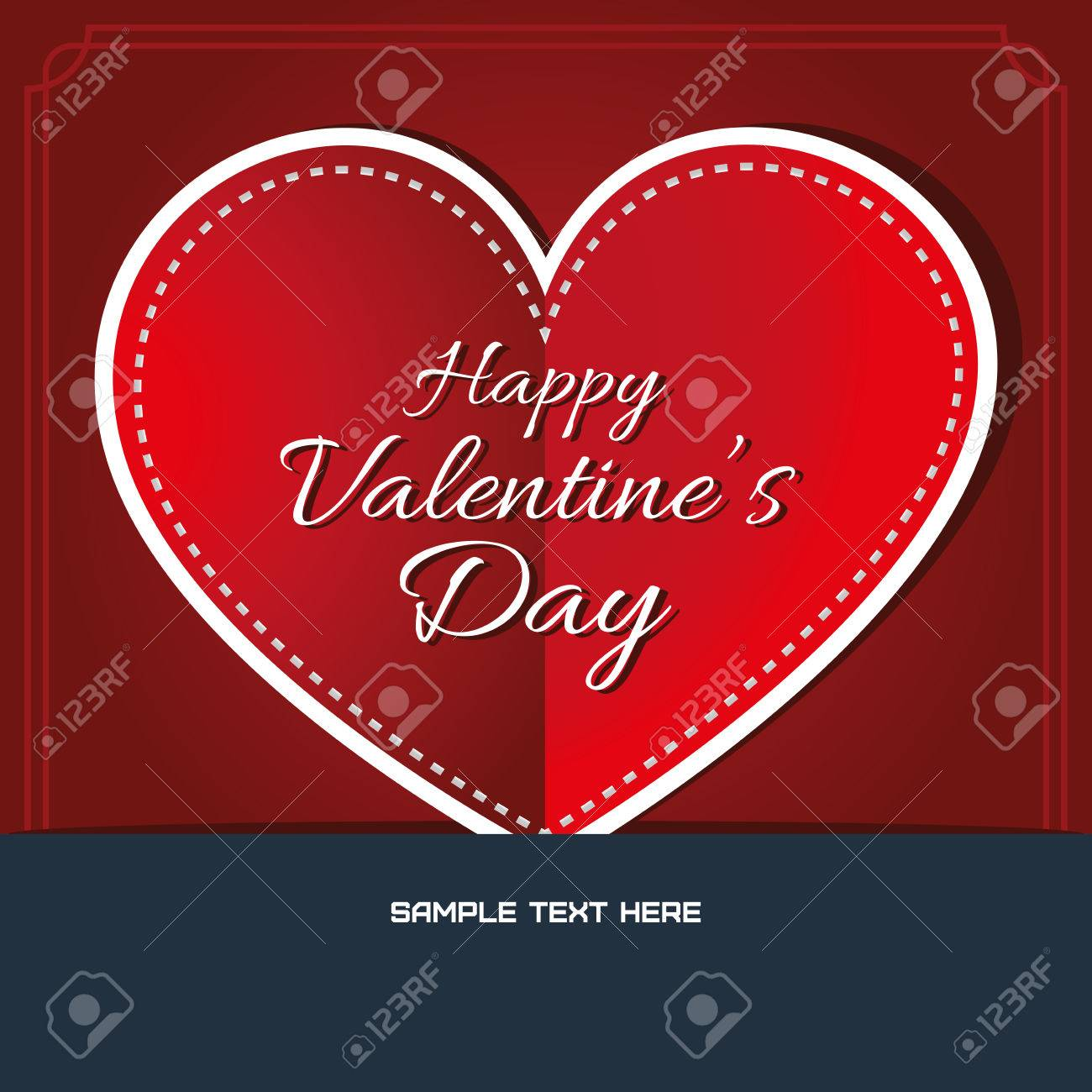 Happy valentines day greeting card stitched heart with fancy happy valentines day greeting card stitched heart with fancy greeting text digital background vector m4hsunfo Gallery
