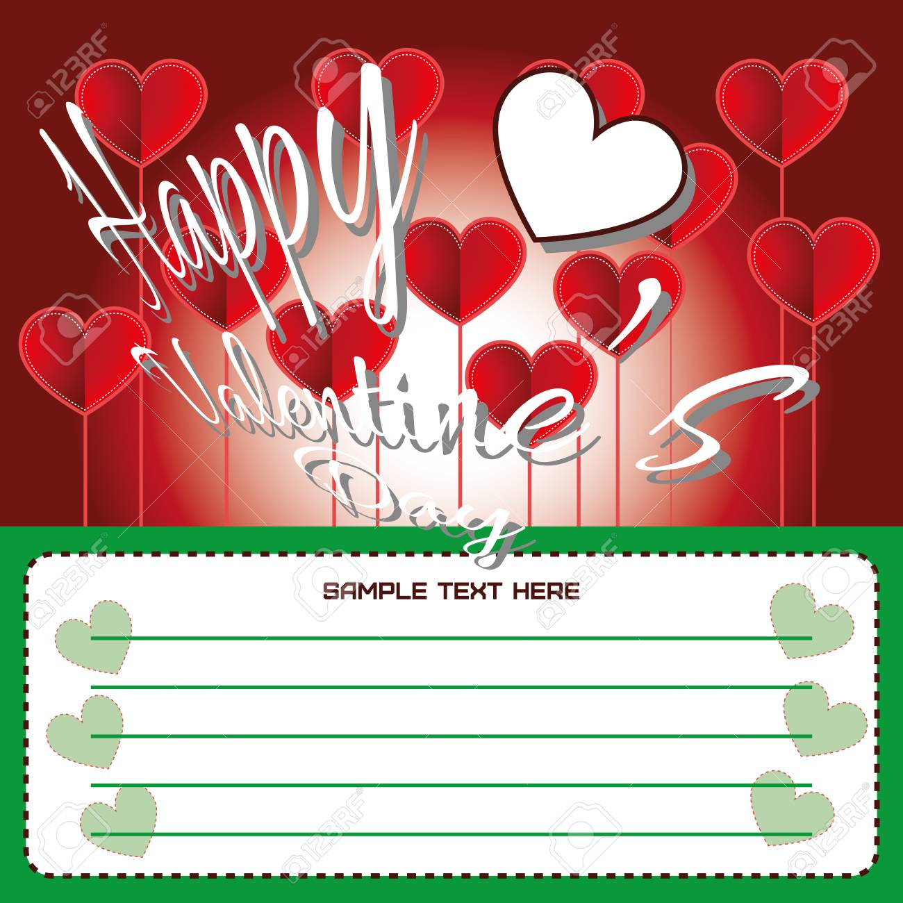 Happy Valentines Day Greeting Card Invitation Big Red Hearts
