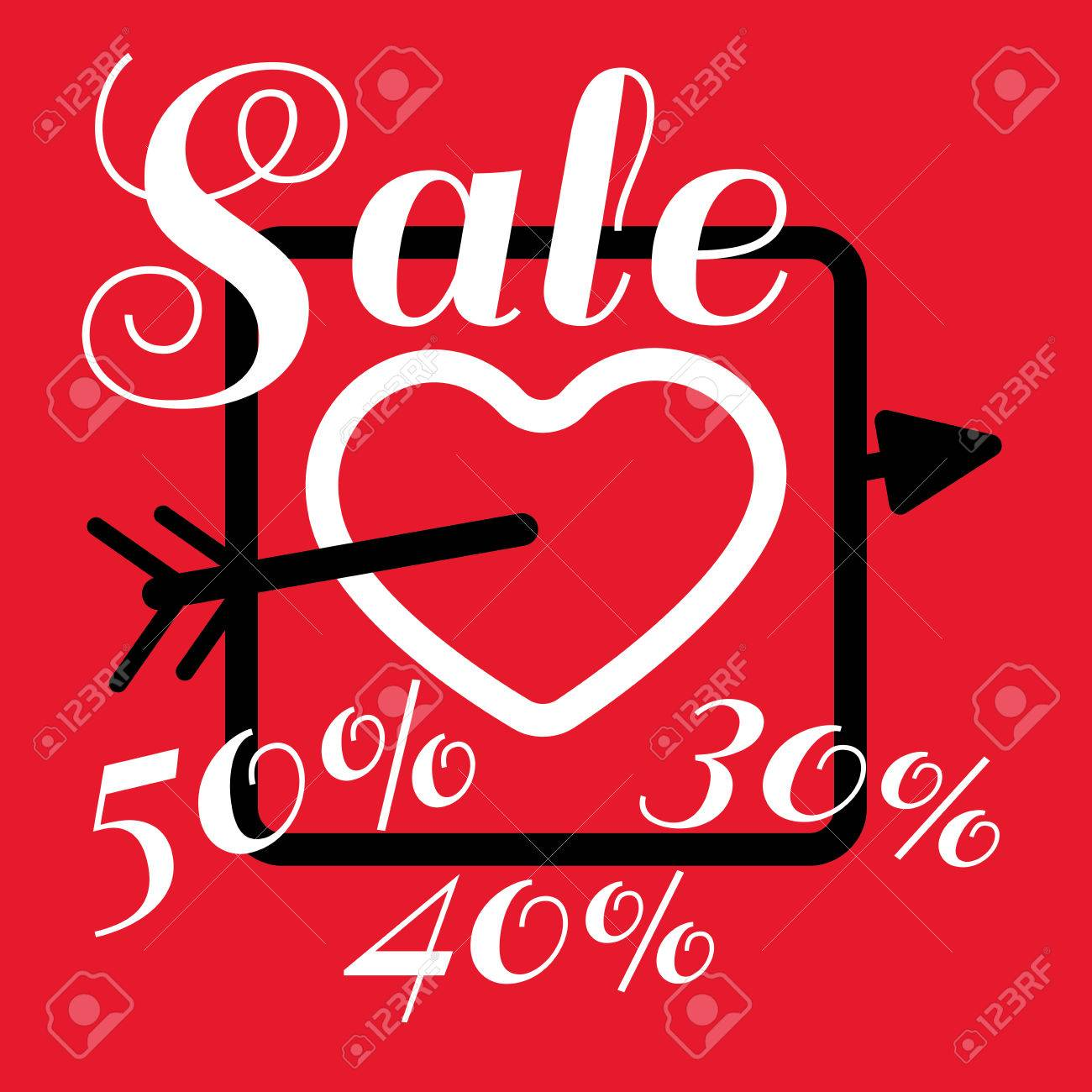 Happy Valentine S Day Sale Banner Big White Heart With Arrow
