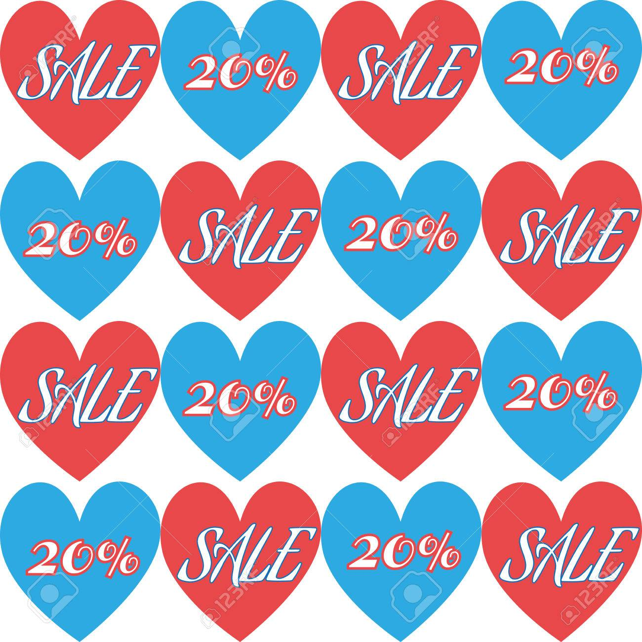 Happy Valentines Day Sale Banner Blue And Red Hearts Tiles - Blue and white tiles for sale