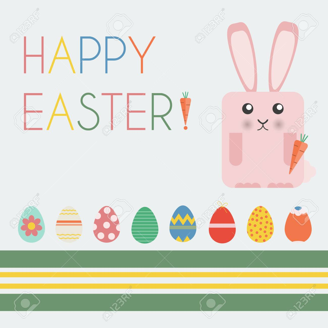 Happy Easter Greeting Card Easter Bunny And Easter Eggs Happy