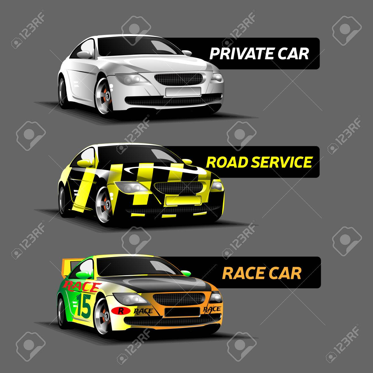 Three Types Of Cars. White Private Car, Green Race Car Number ...