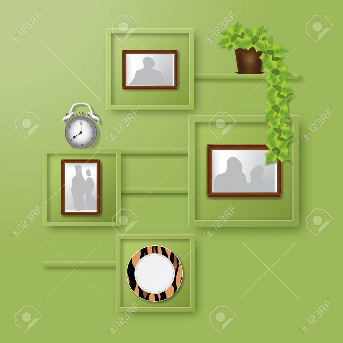 Startseite Inter-Design. Grüne Wand Mit Regale Mit Bilderrahmen Von ...