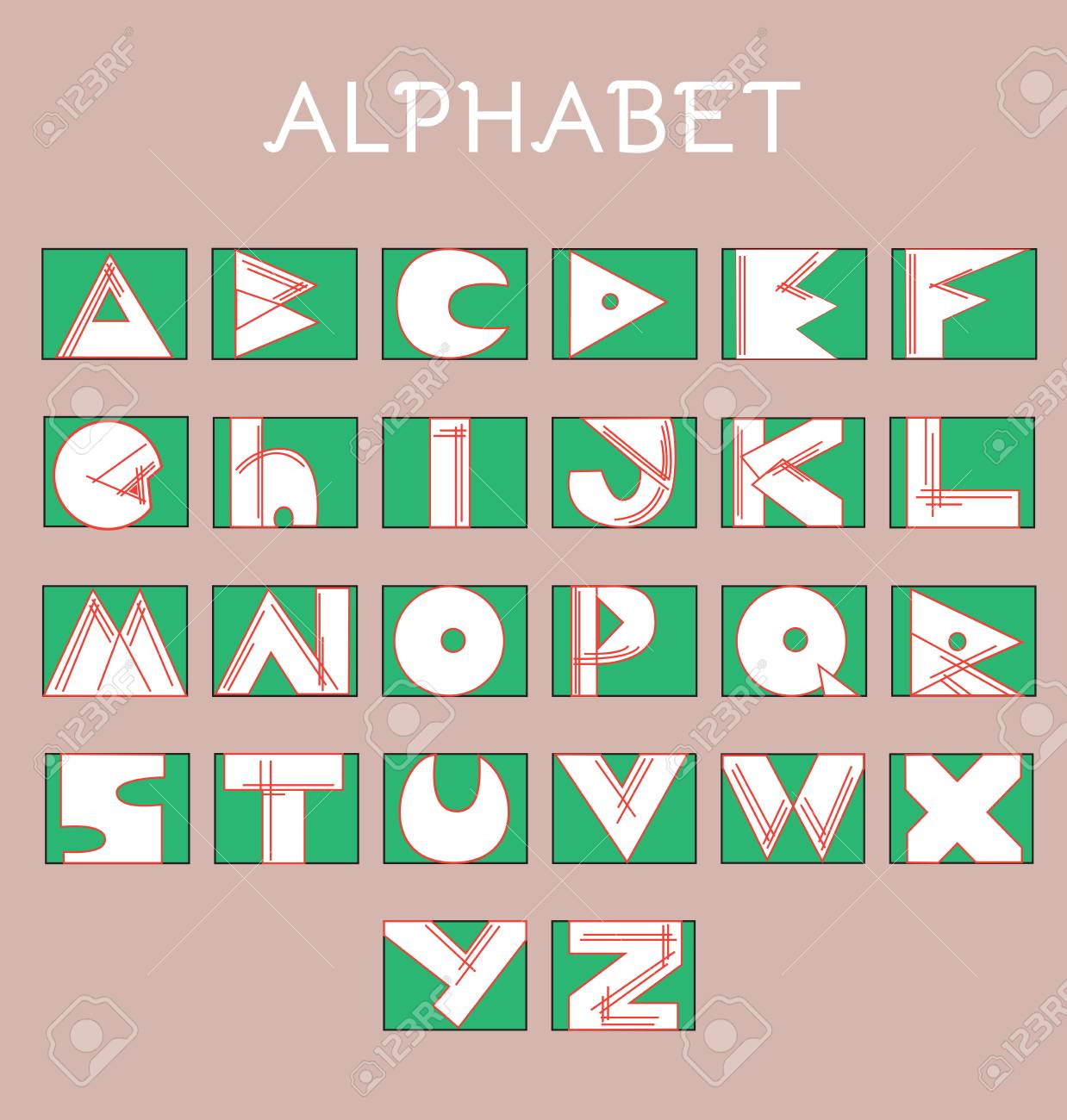 Sketchy Alphabet Letters In Various Colors. Geometrical Typography ...