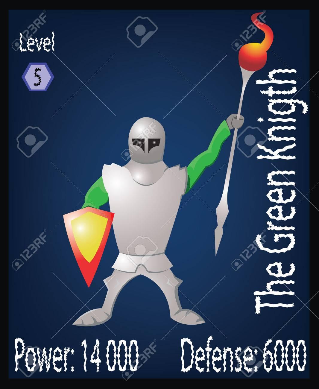 緑の騎士。鋼の鎧と戦士の勇敢な。盾と槍で武装した男。ボード ゲーム ...