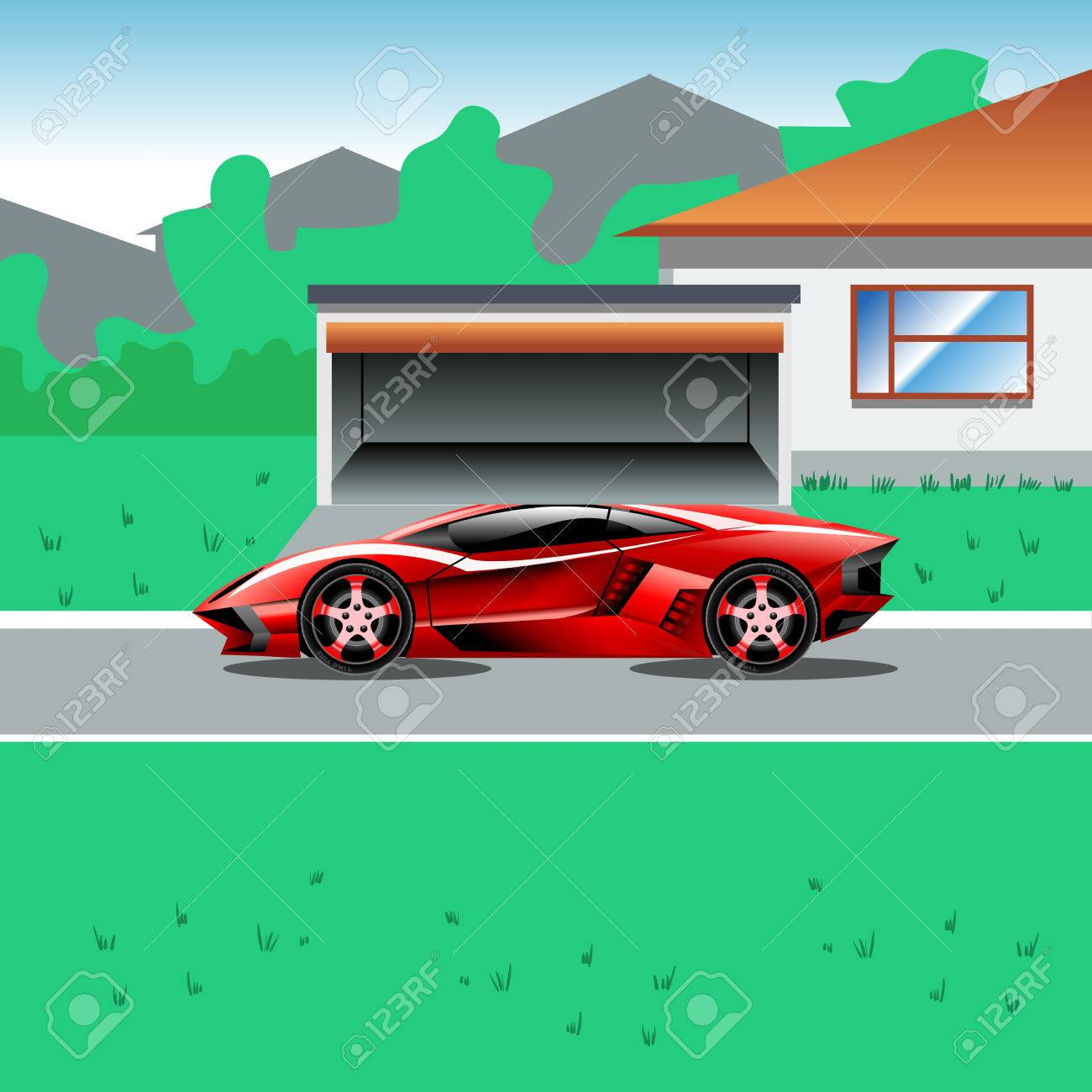 Red Luxury Sport Car Parked Beside A House With A Garage. Suburban on