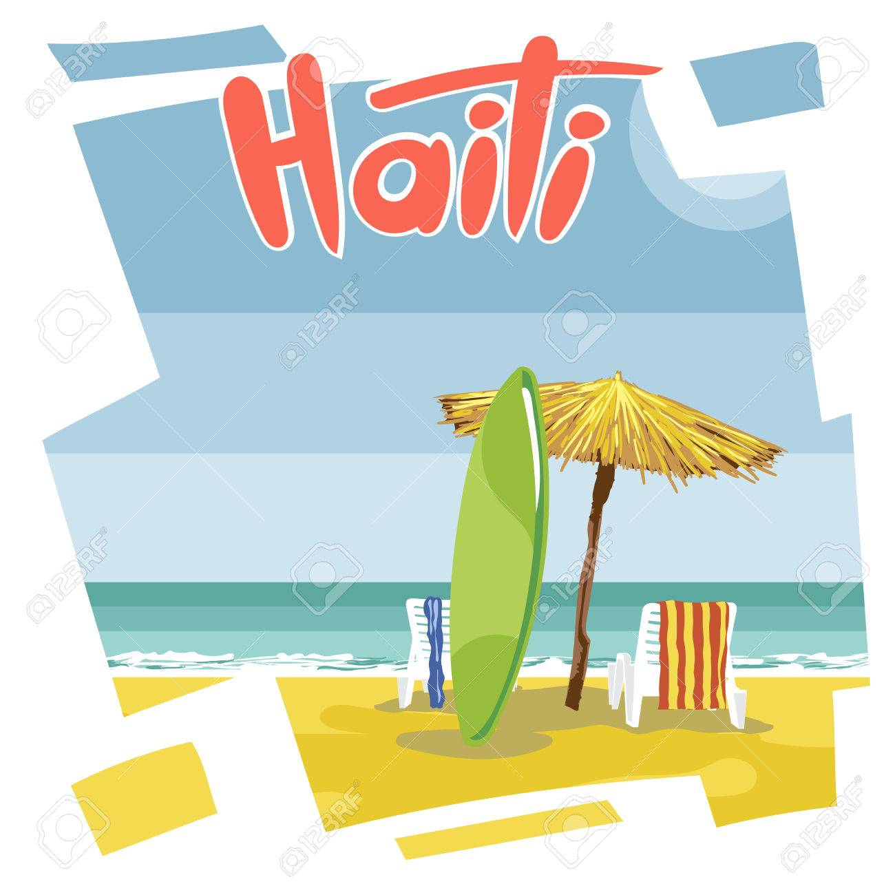 Haiti Beach Flyer With A Green Surfing Board An Umbrella From