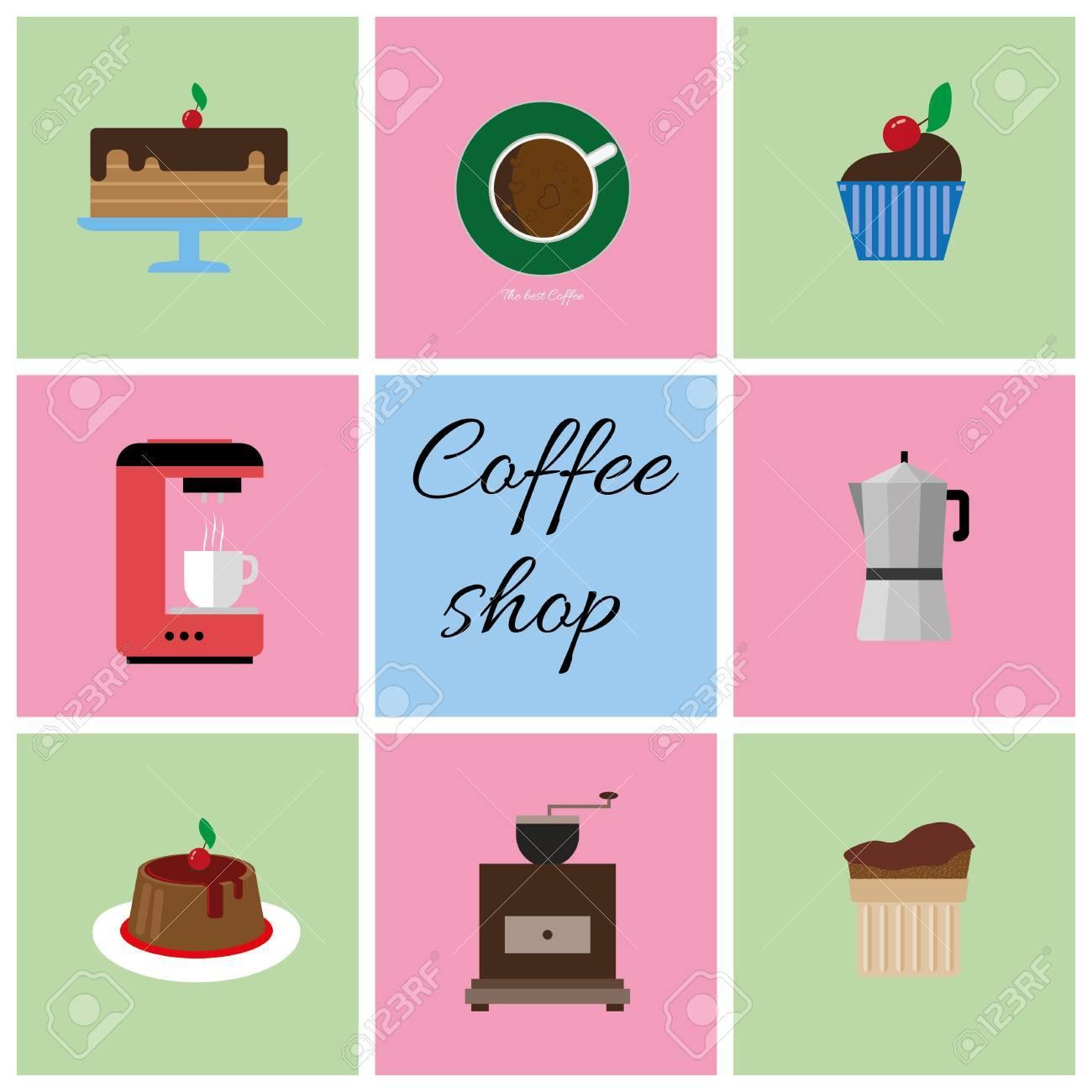Eine Reihe Von Farbigen Kaffee Artikel Tasse Kaffee Mit Blasen