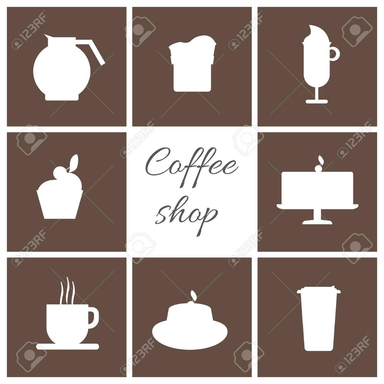 Ein Schwarz Weiss Set Kaffee Artikel Tasse Kaffee Mit Dampf Kuchen