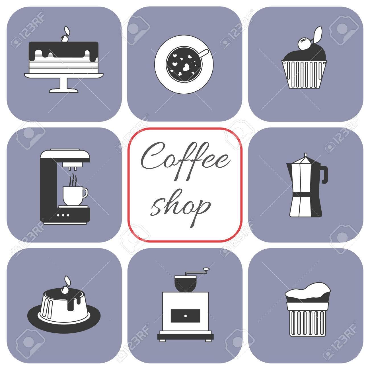 Eine Reihe Von Kaffee Artikel Tasse Kaffee Mit Dampf Kuchen Glas