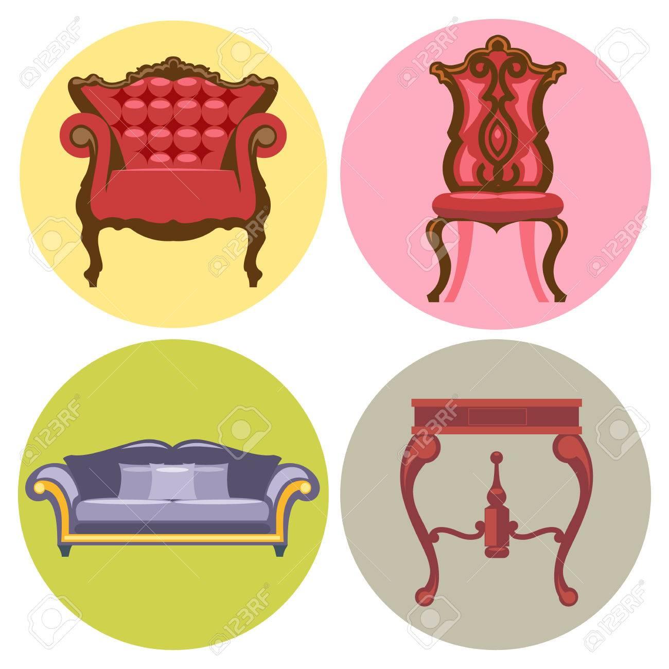 Juego De Muebles De Estilo Plano Sof Silla Mesa Cama Vector  # Muebles Digitales