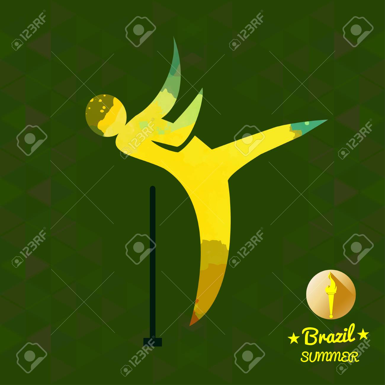 Brazil summer sport card with an yellow abstract hammer thrower