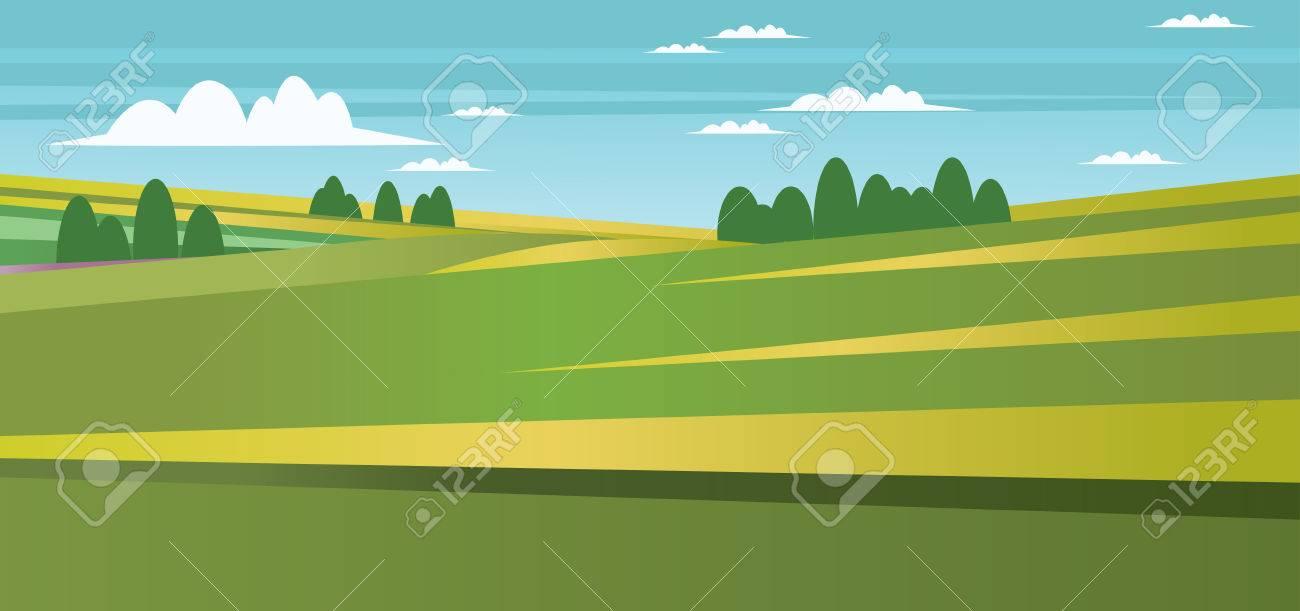 Resumen Paisaje Con Campos Verdes, árboles Y Nubes. Vector De Imagen ...