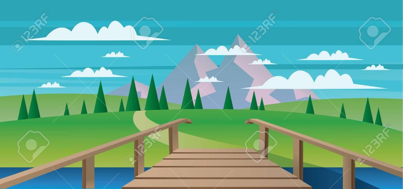Resumen Paisaje Con Un Río, Puente De Madera Y Campos Verdes Con Las ...