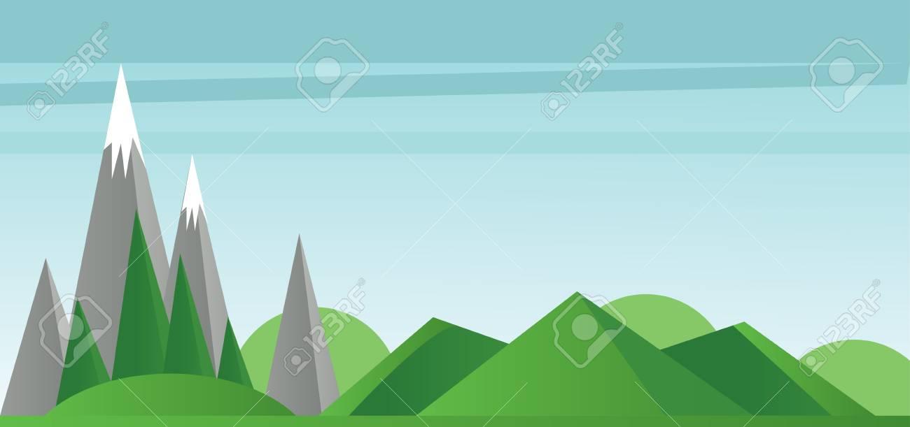 Resumen Paisaje Con Campos Verdes, árboles Montañas De Plata Con ...
