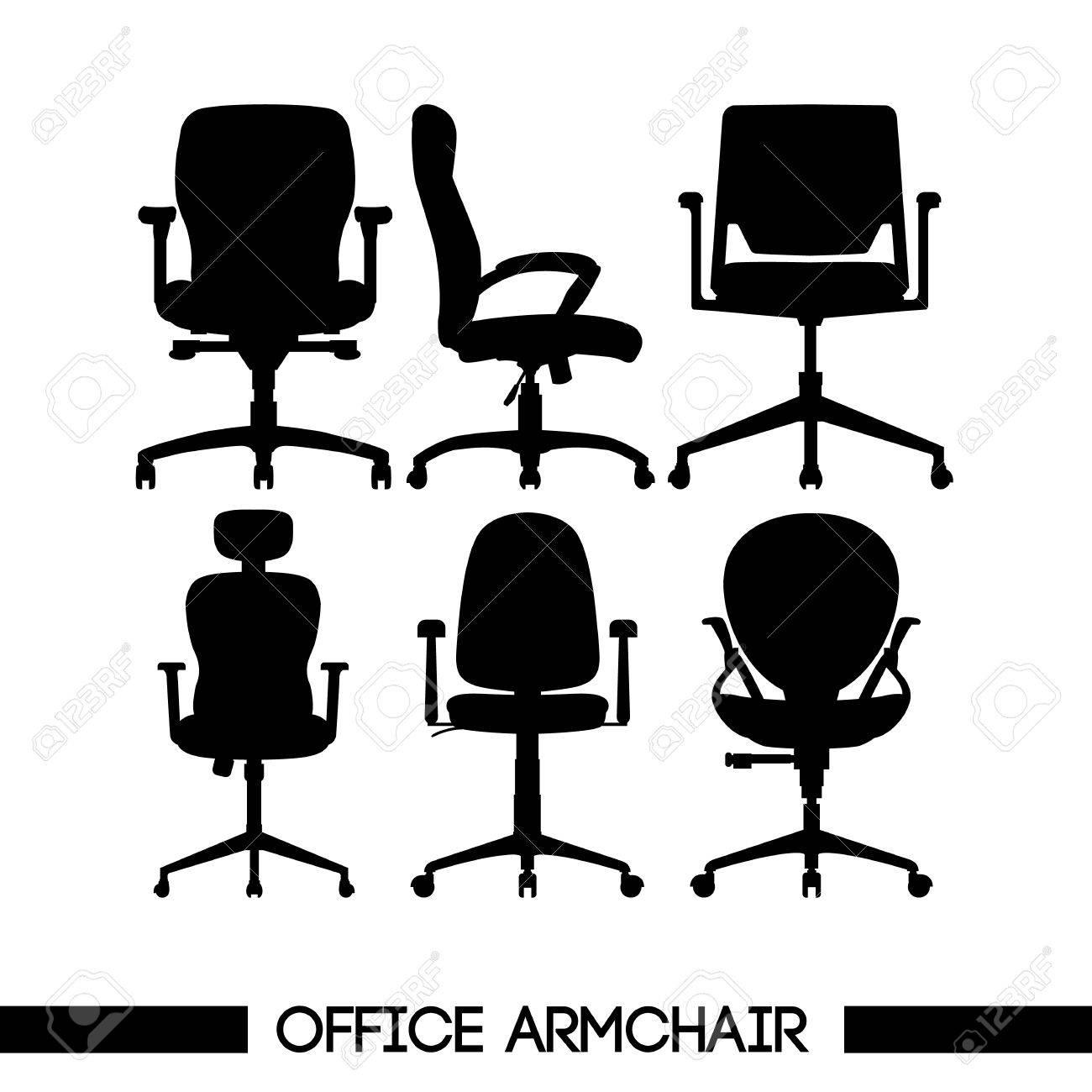 vectorielle les fond numérique bureau fauteuil de contourssur moderne de noirdans Ensemble blancImage FJKl1c
