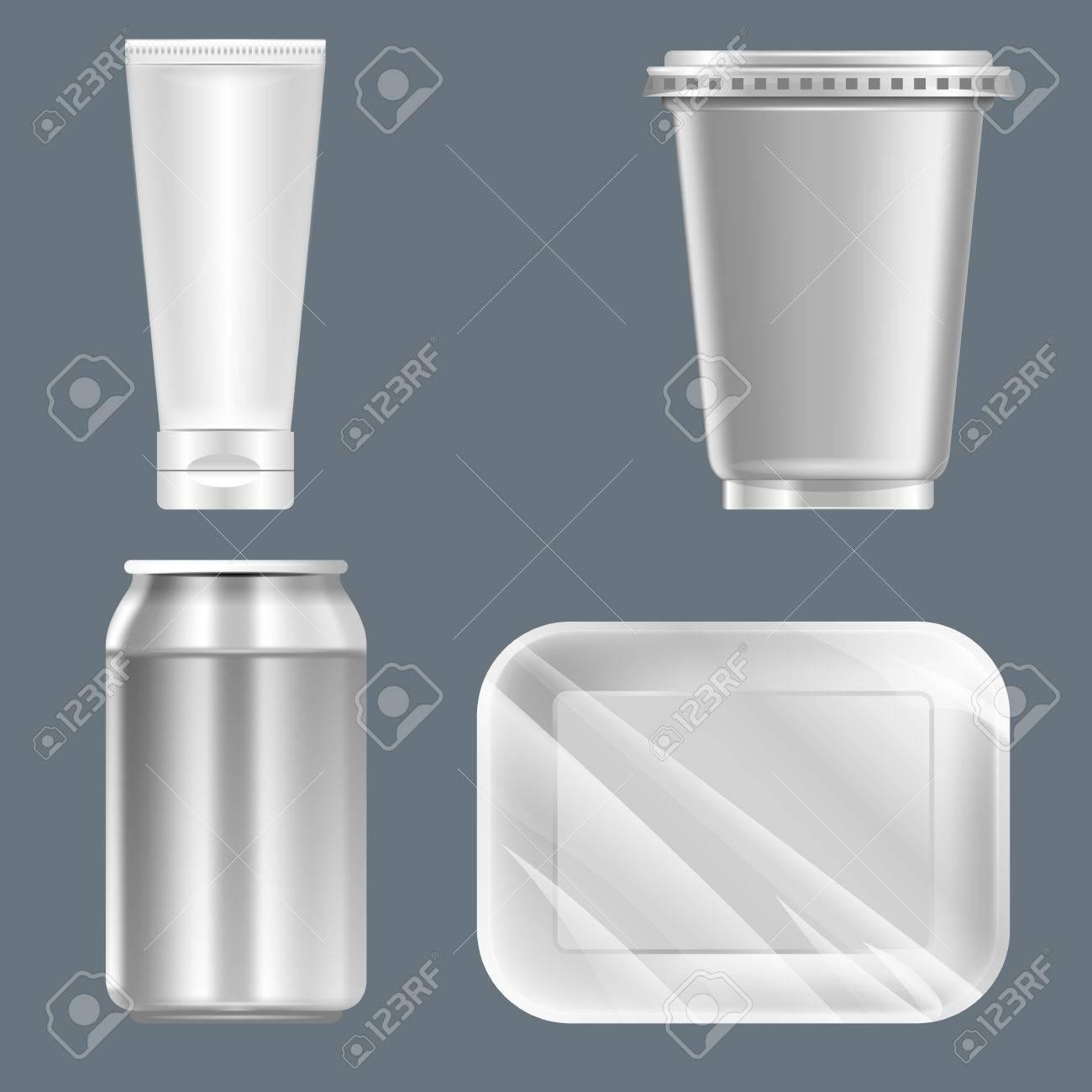 conjunto de vectores de plata de plástico puede con latas de bebidas