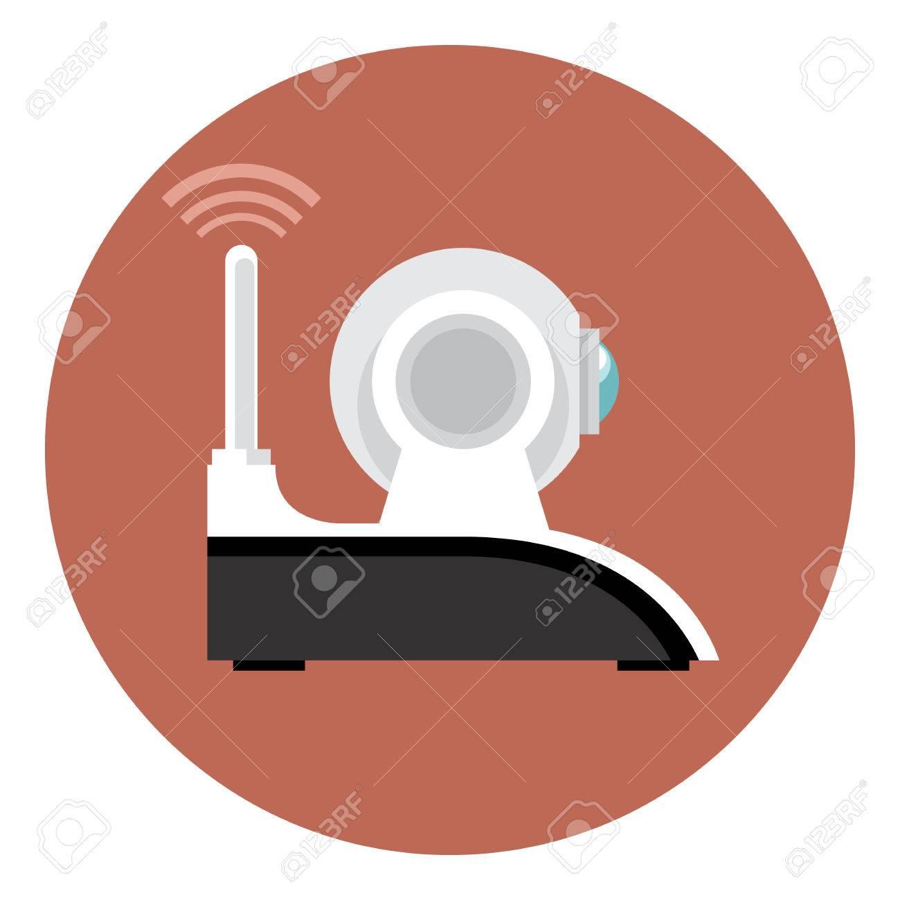 Digitale Vektor Weiß WiFi Und Web-Kamera Mit Antennensymbol, Flat ...