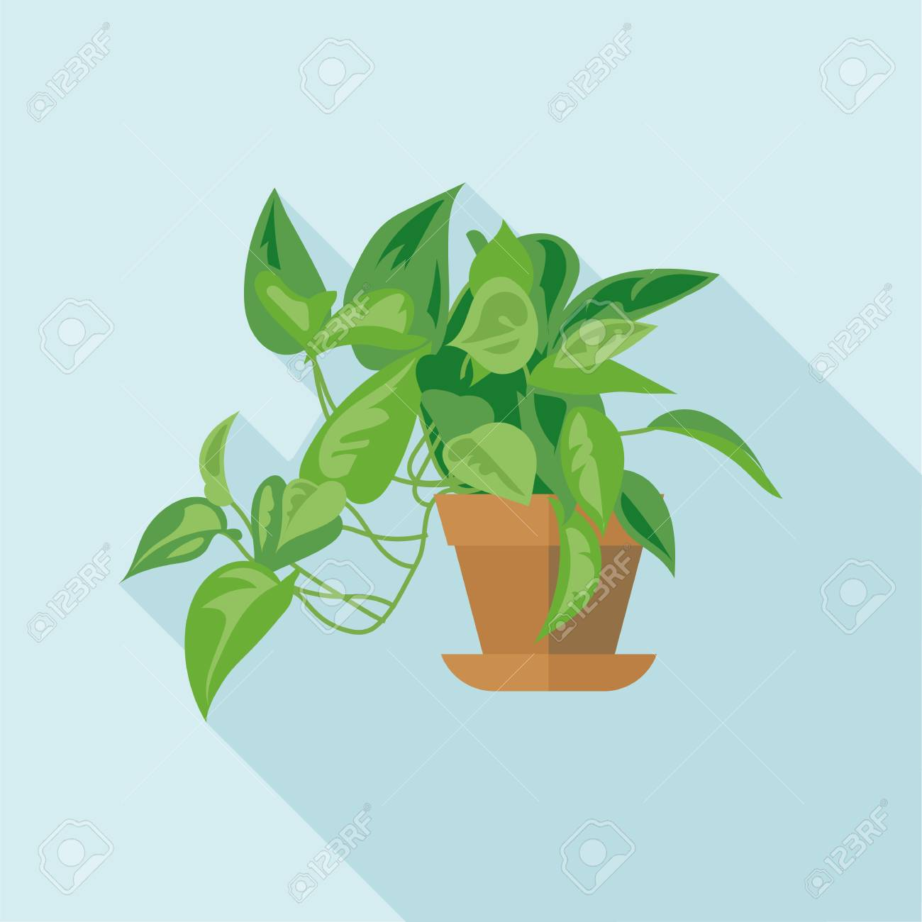 Digitale Vektor Grune Dekorative Buro Pflanze Mit Topf Braun Flat