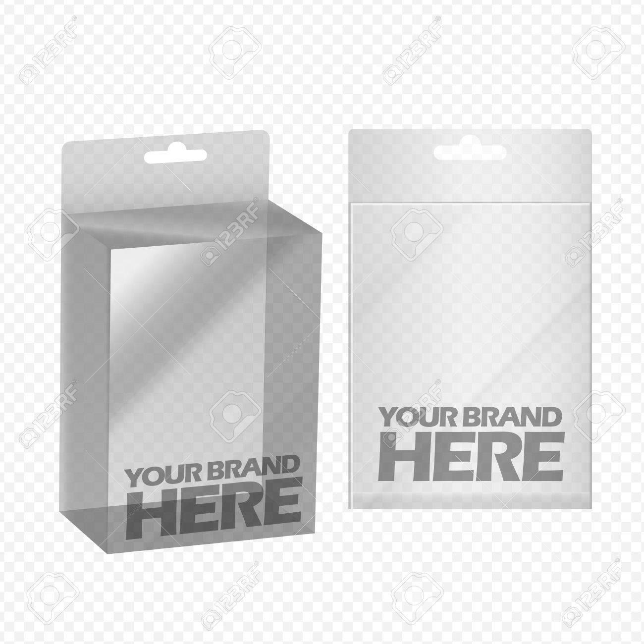 Digital Vector Silver Transparent Plastic Blank Box Mockup Ready
