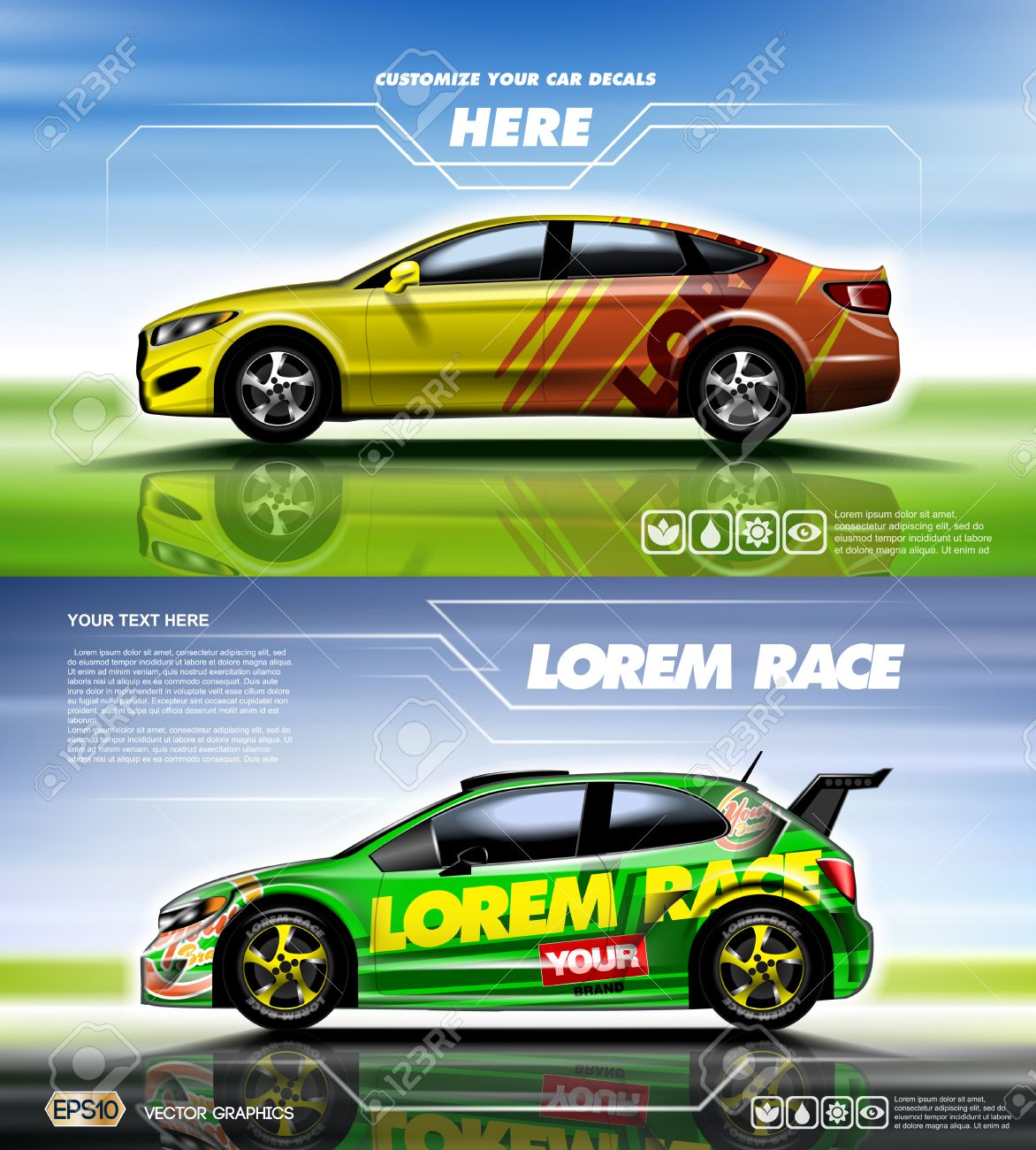Digital Vector Yellow Red And Green Sedan Sport Car Mockup Ready