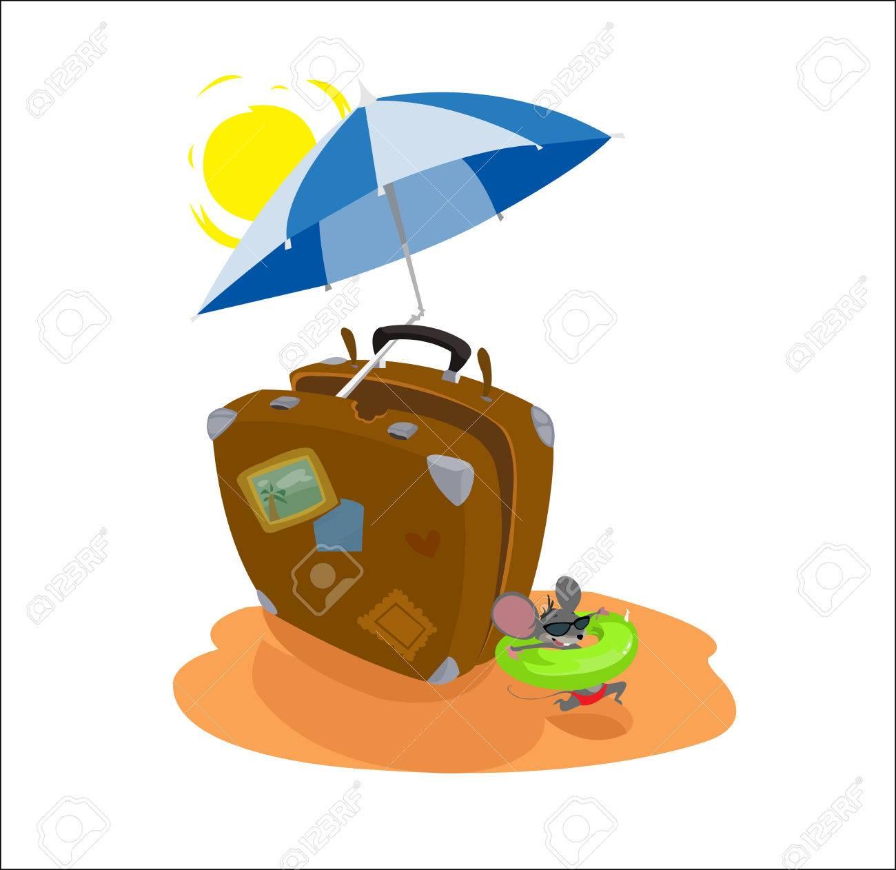 Dessin Parasol valise de voyage brun gros dessin animé drôle de vecteur numérique à