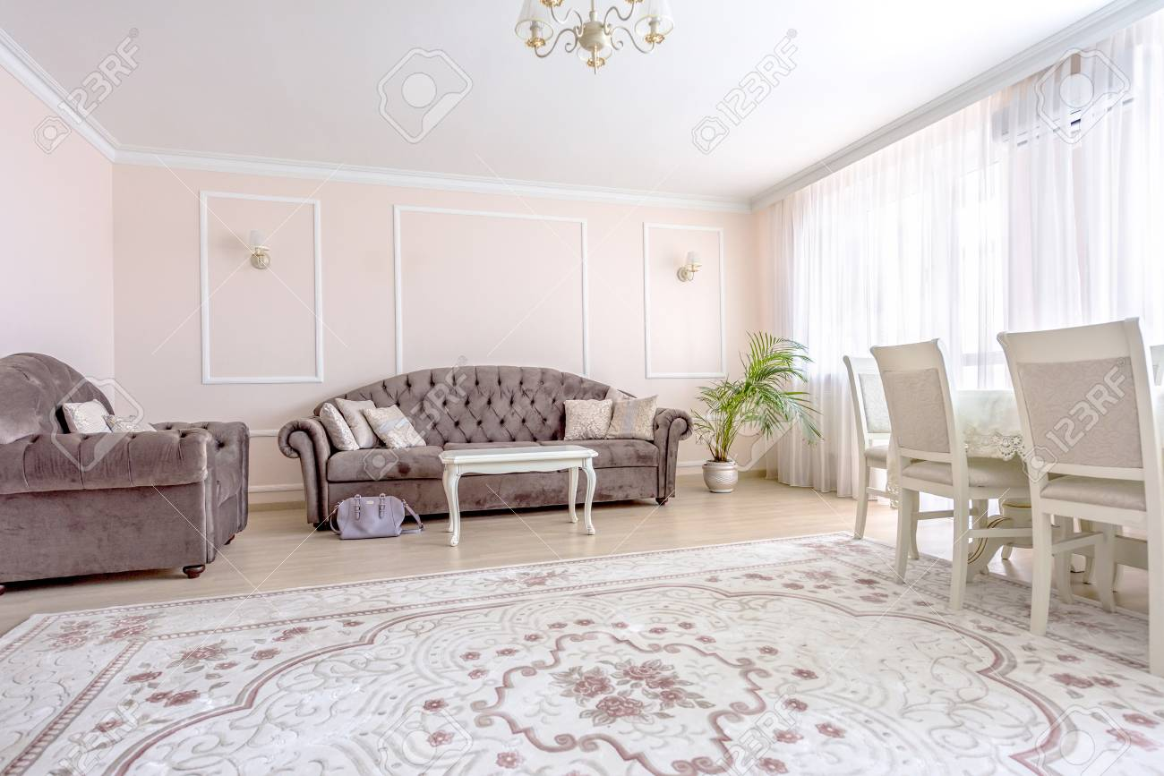 White apartment interior design living room with classic furniture,..