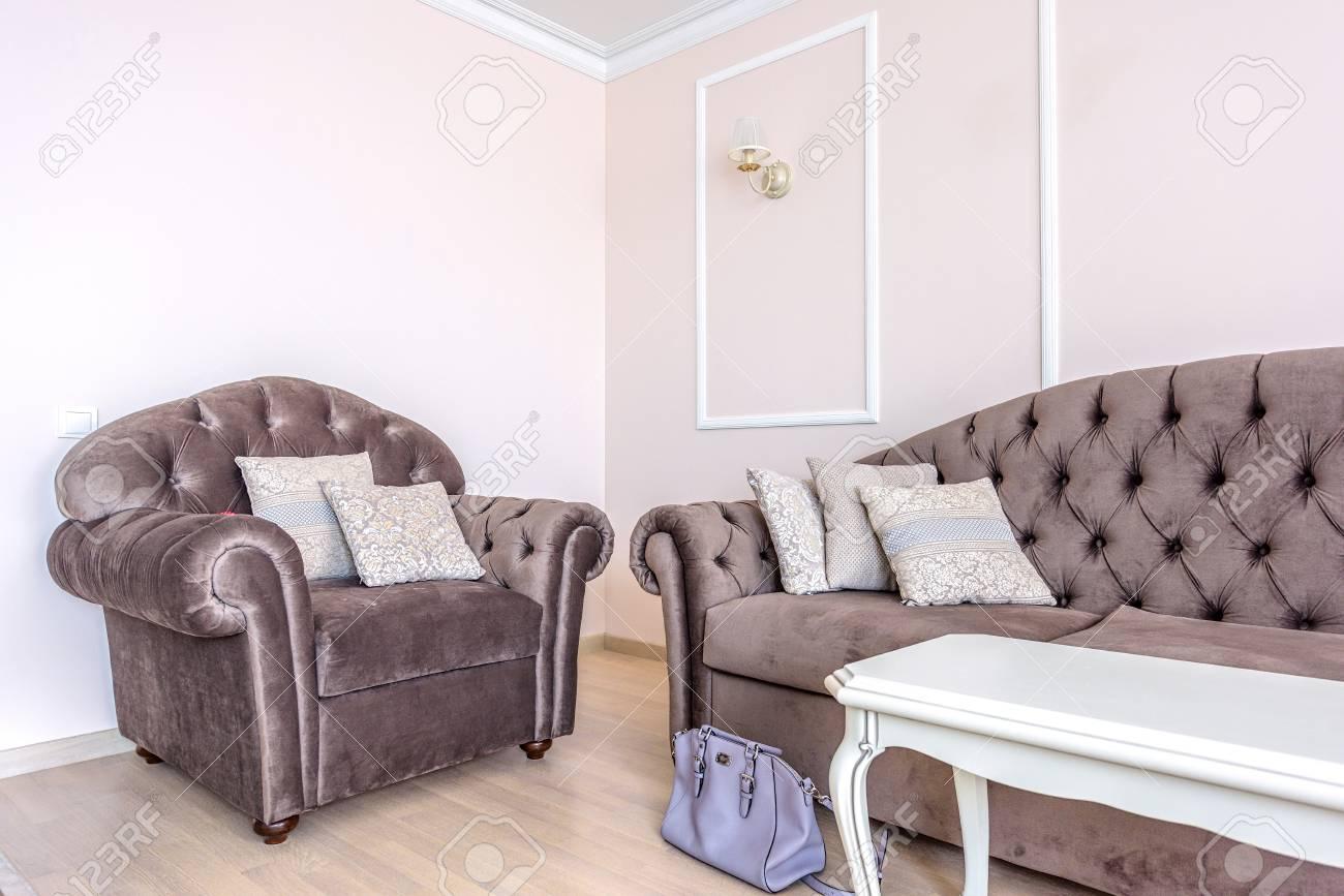 White Apartment Interior Design Living Room With Classic Furniture