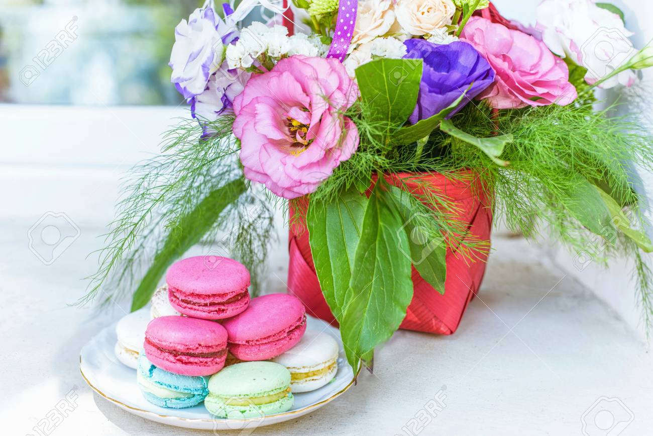 Summer flowers bouquet in a basket white red and purple pink summer flowers bouquet in a basket white red and purple pink and green macaroons izmirmasajfo Choice Image