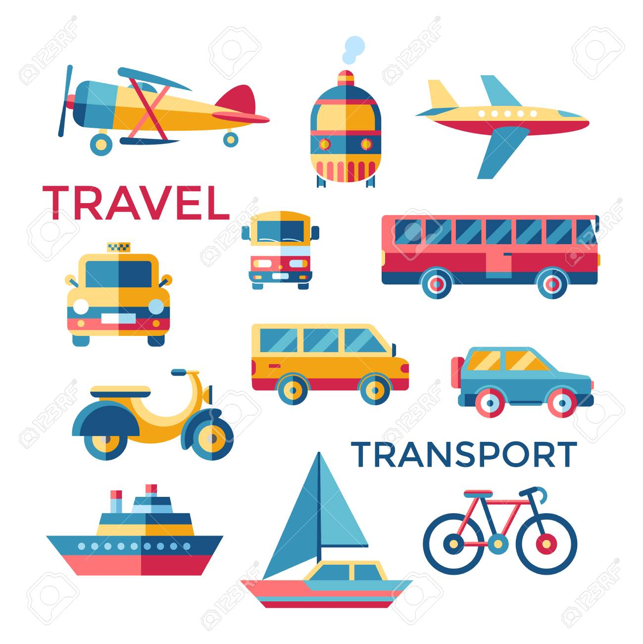 Digital Vector Bleu Rouge Jaune Transport Icônes De Voyage Serti De Dessin Simple Ligne Art Info Graphique Présentation Avec Voiture Tram Et Taxi